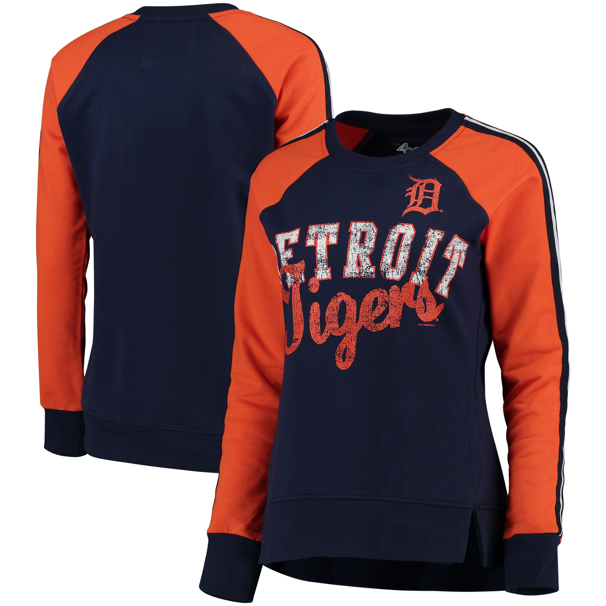 Detroit Tigers G-III 4Her by Carl Banks Women's Perfect Pitch Pullover Sweatshirt - Navy/Orange