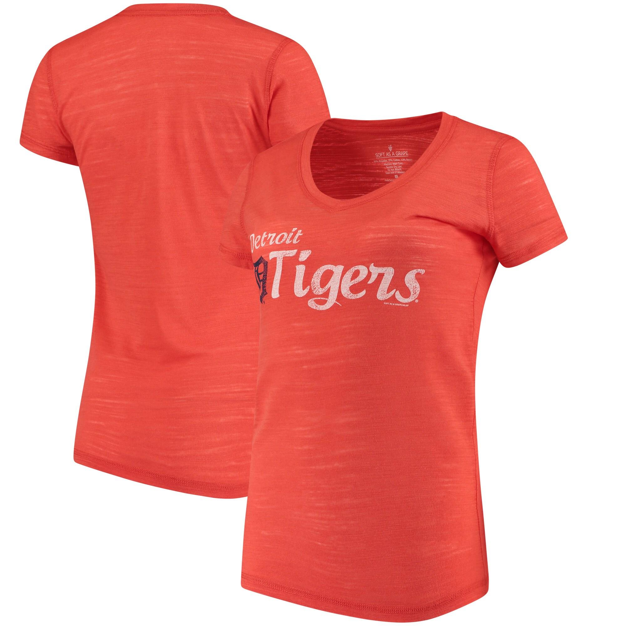 Detroit Tigers Soft As A Grape Women's Double Steal Tri-Blend V-Neck T-Shirt - Orange