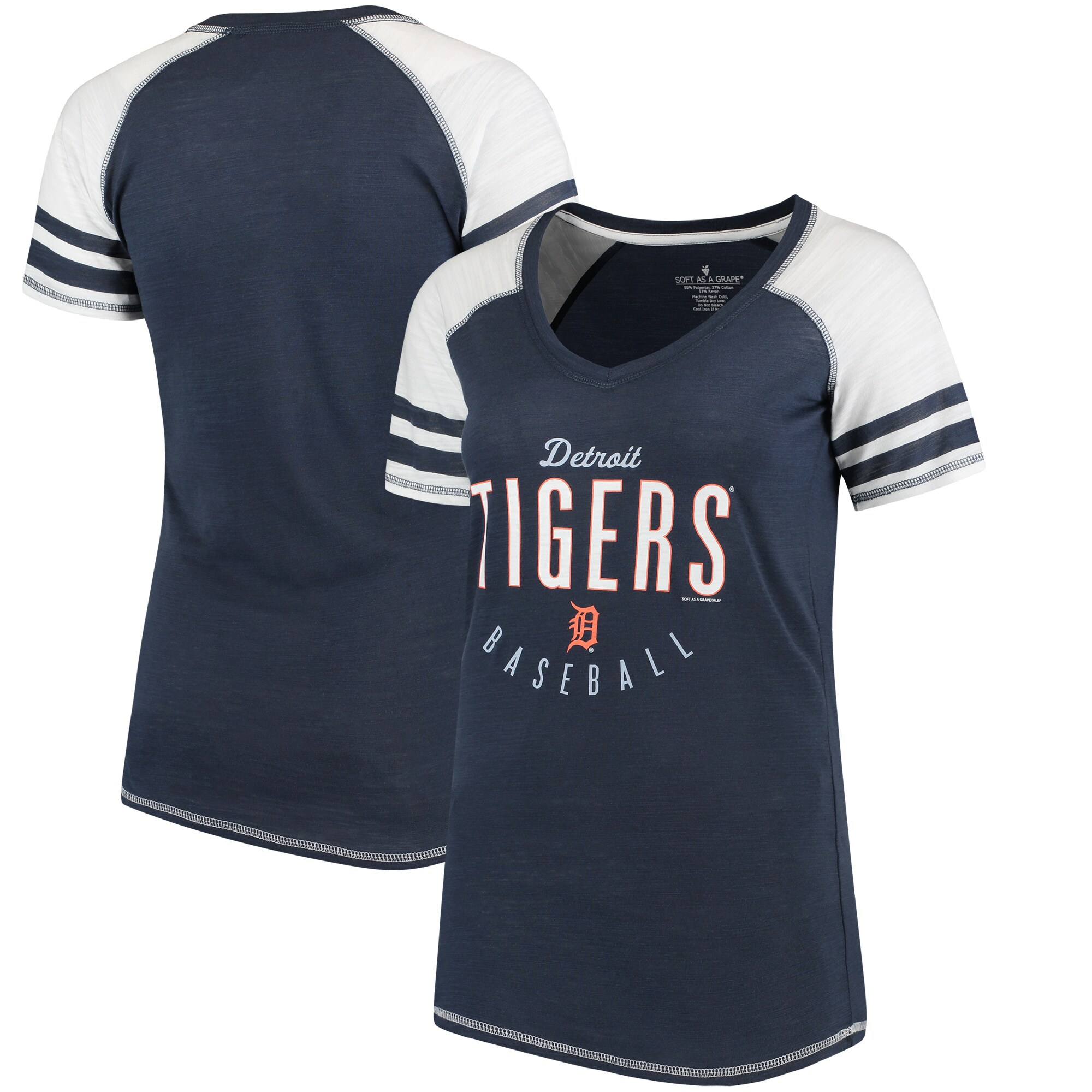 Detroit Tigers Soft As A Grape Women's Down the Line Color Blocked Tri-Blend V-Neck Raglan Sleeve T-Shirt - Navy