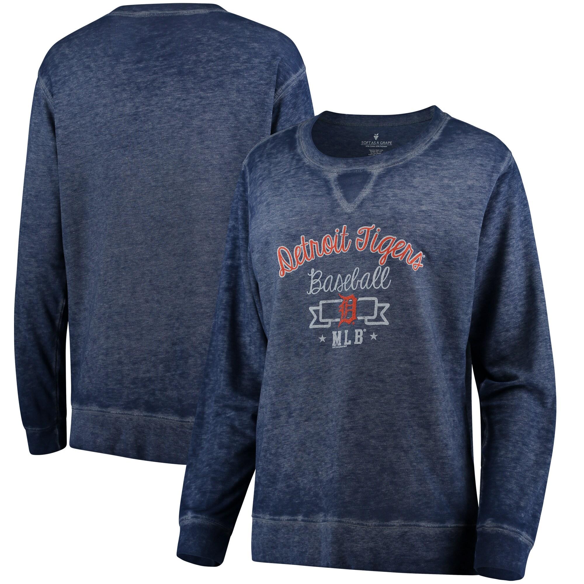 Detroit Tigers Soft as a Grape Women's Home Run Swing Sweatshirt - Navy