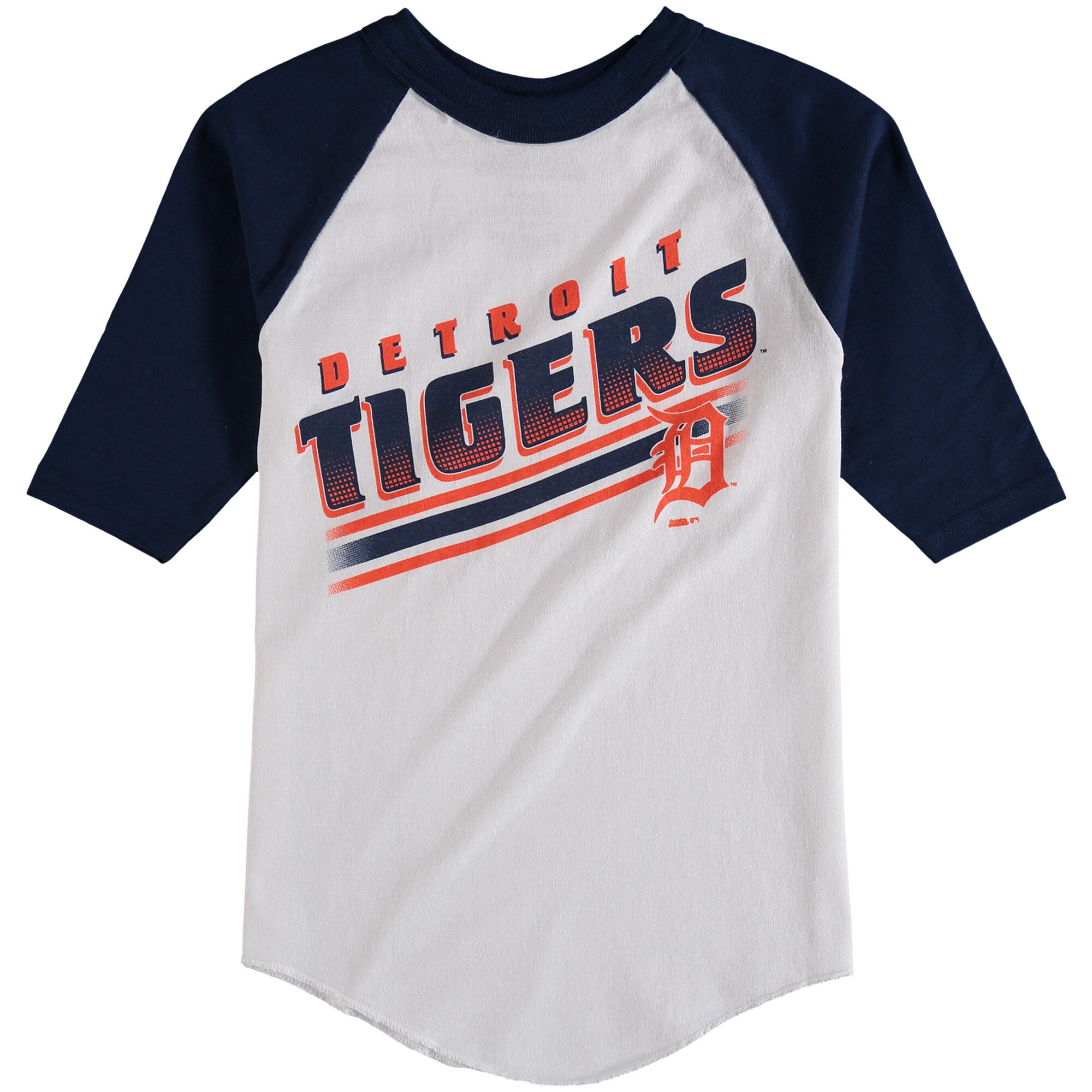 Detroit Tigers Stitches Youth 3/4-Sleeve Raglan T-Shirt - White/Navy