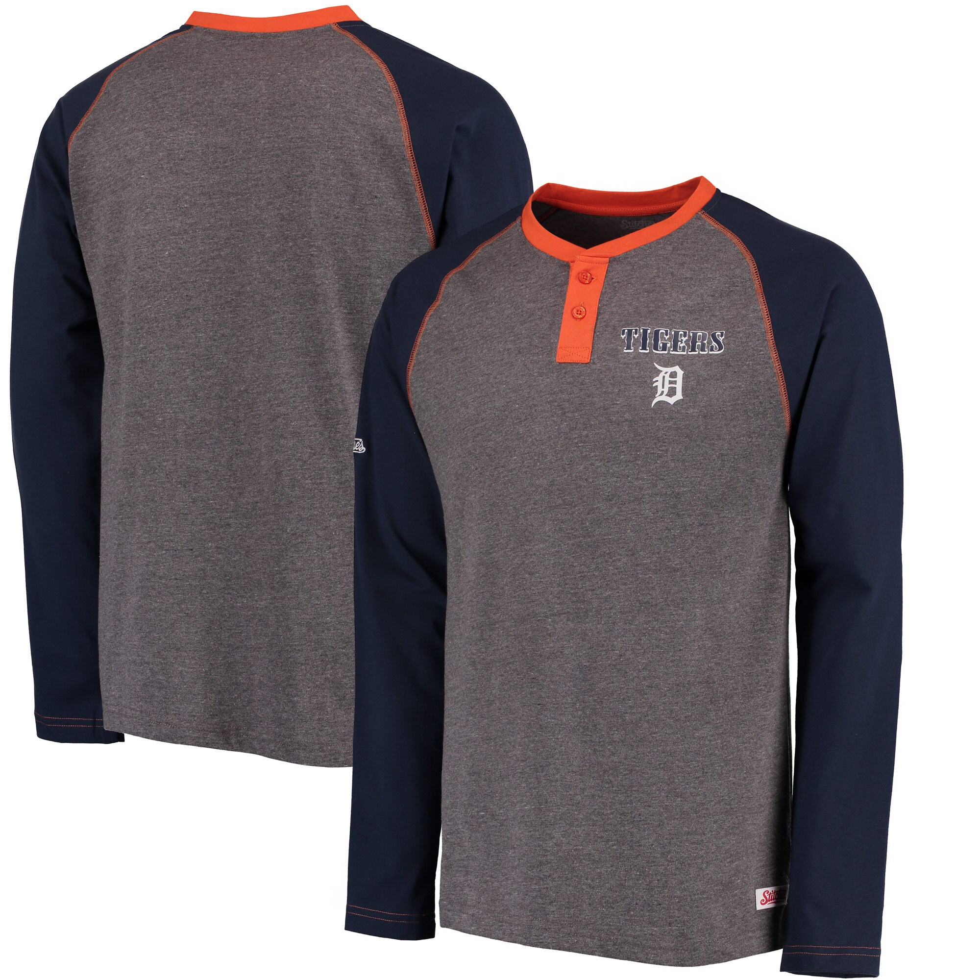 Detroit Tigers Stitches Home Run Long Sleeve Henley T-Shirt - Heathered Gray/Navy