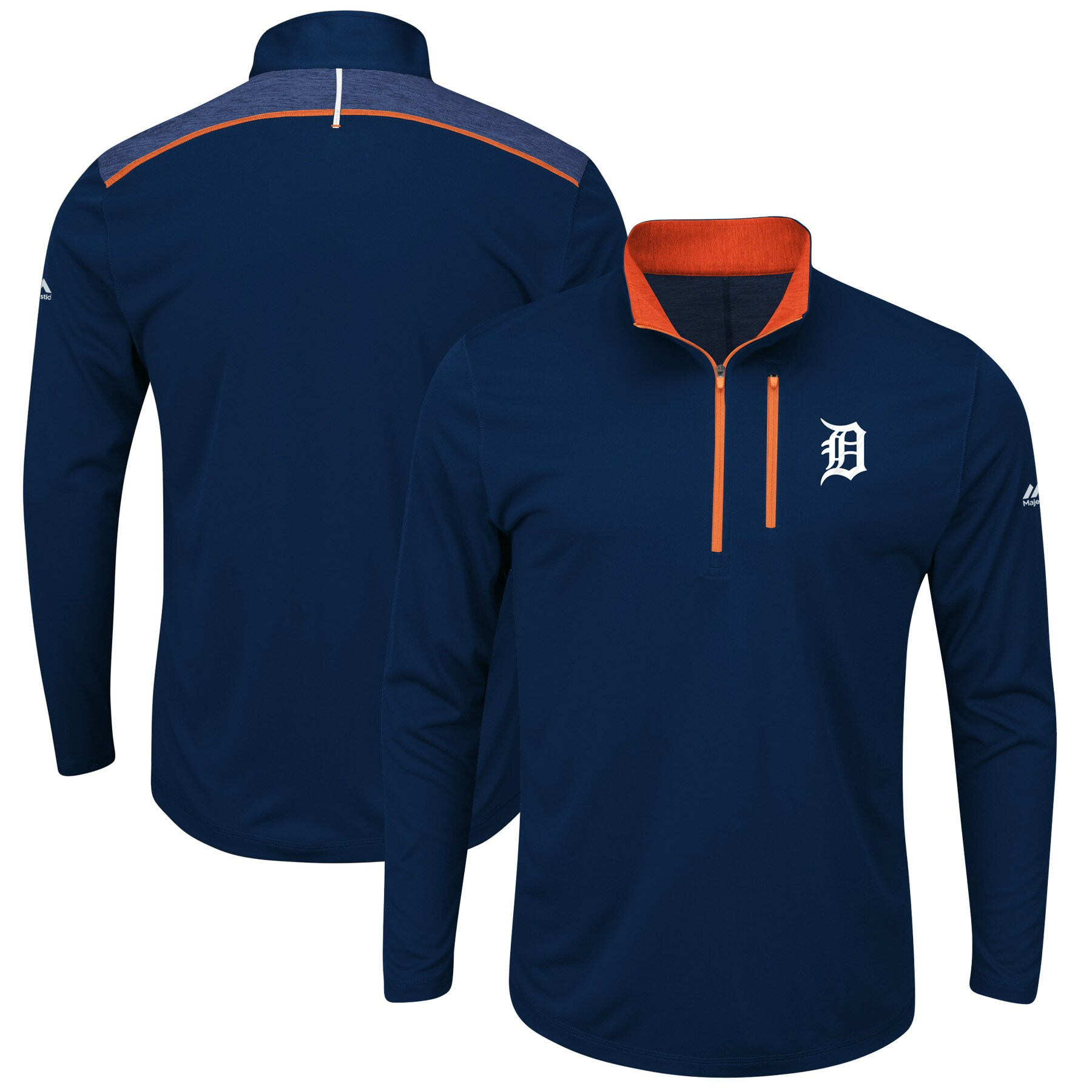Detroit Tigers Majestic Big & Tall 643 Half-Zip Pullover Jacket - Navy