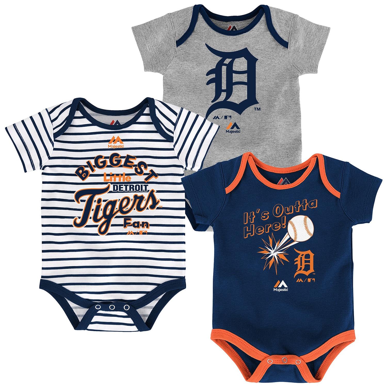 Detroit Tigers Majestic Newborn & Infant Home Run 3-Pack Bodysuit Set - Gray/Navy/White