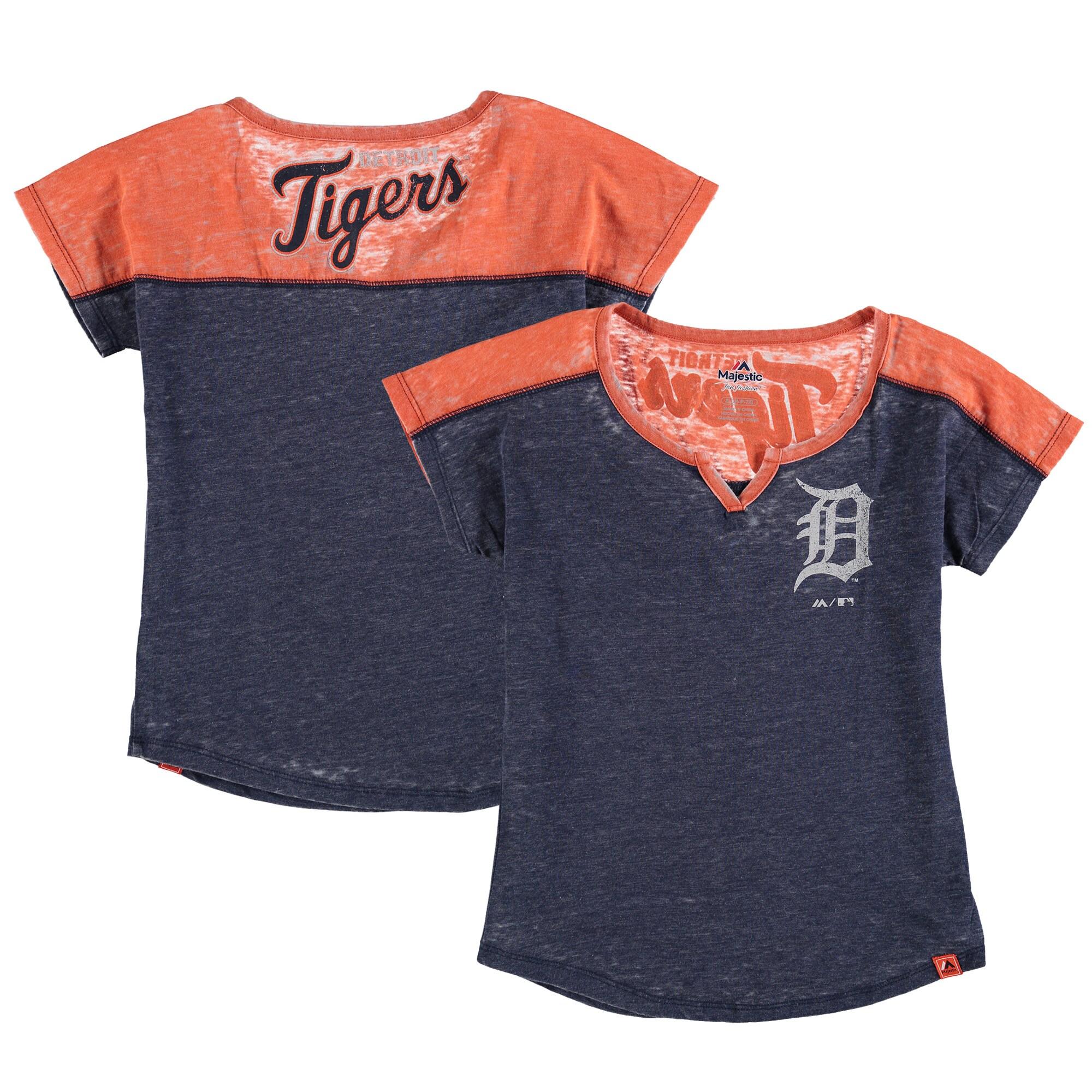 Detroit Tigers Majestic Girls Youth Ballpark Best Color Block Dolman Sleeve T-Shirt - Navy/Orange