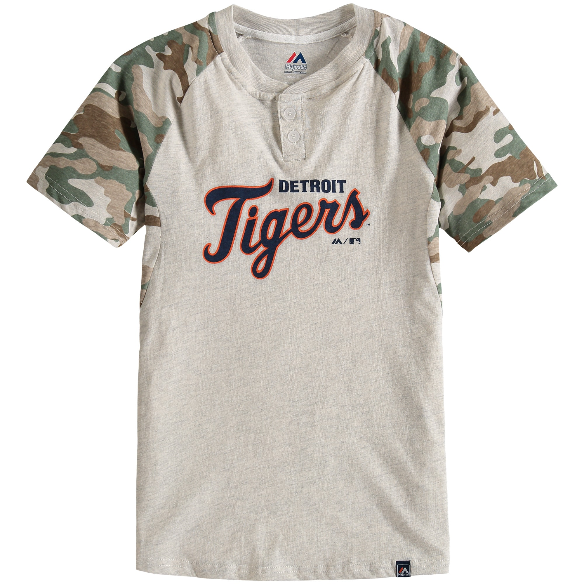 Detroit Tigers Majestic Youth Base Stealer Henley T-Shirt - Cream/Camo
