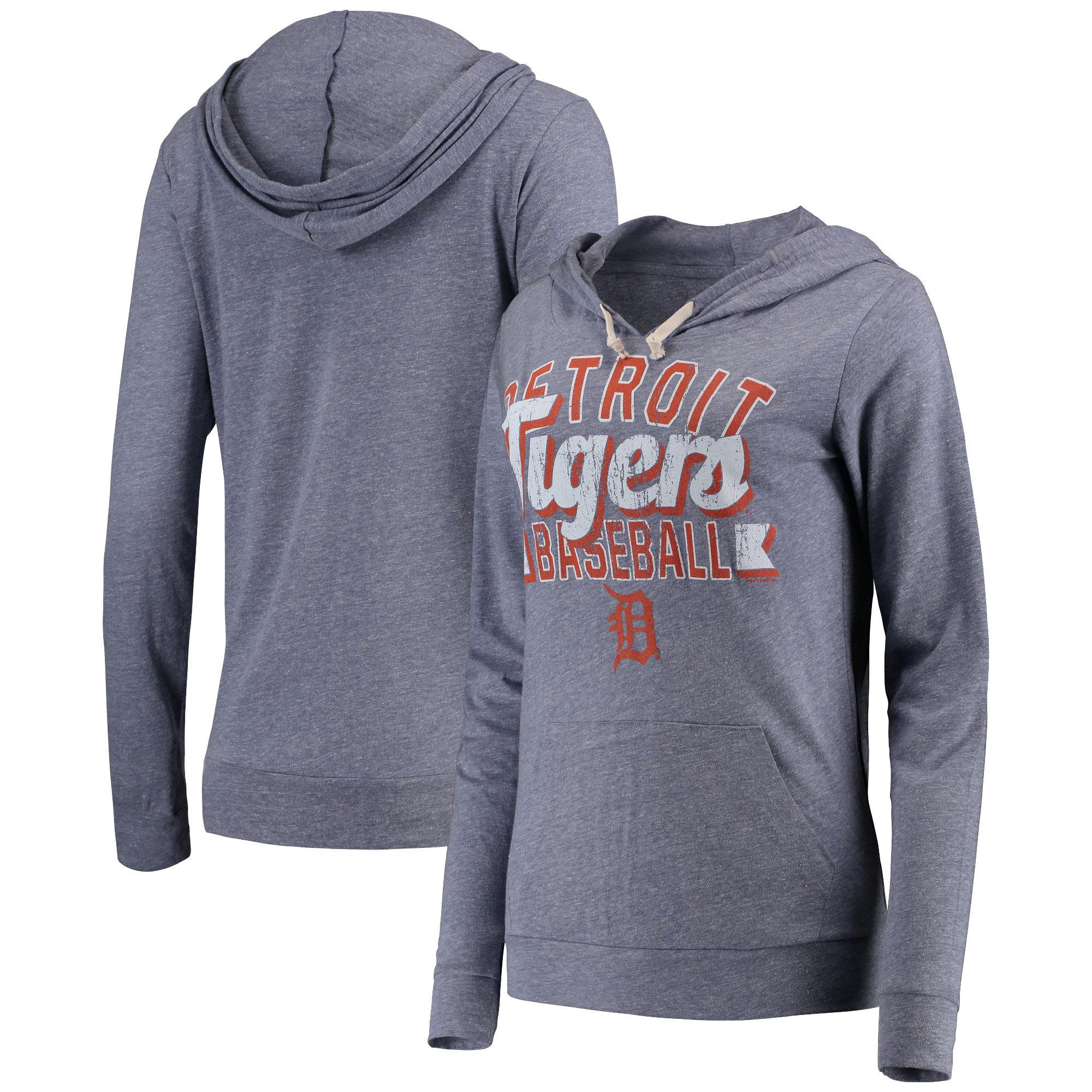 Detroit Tigers 5th & Ocean by New Era Women's Jersey Tri-Blend Pullover Hoodie - Navy