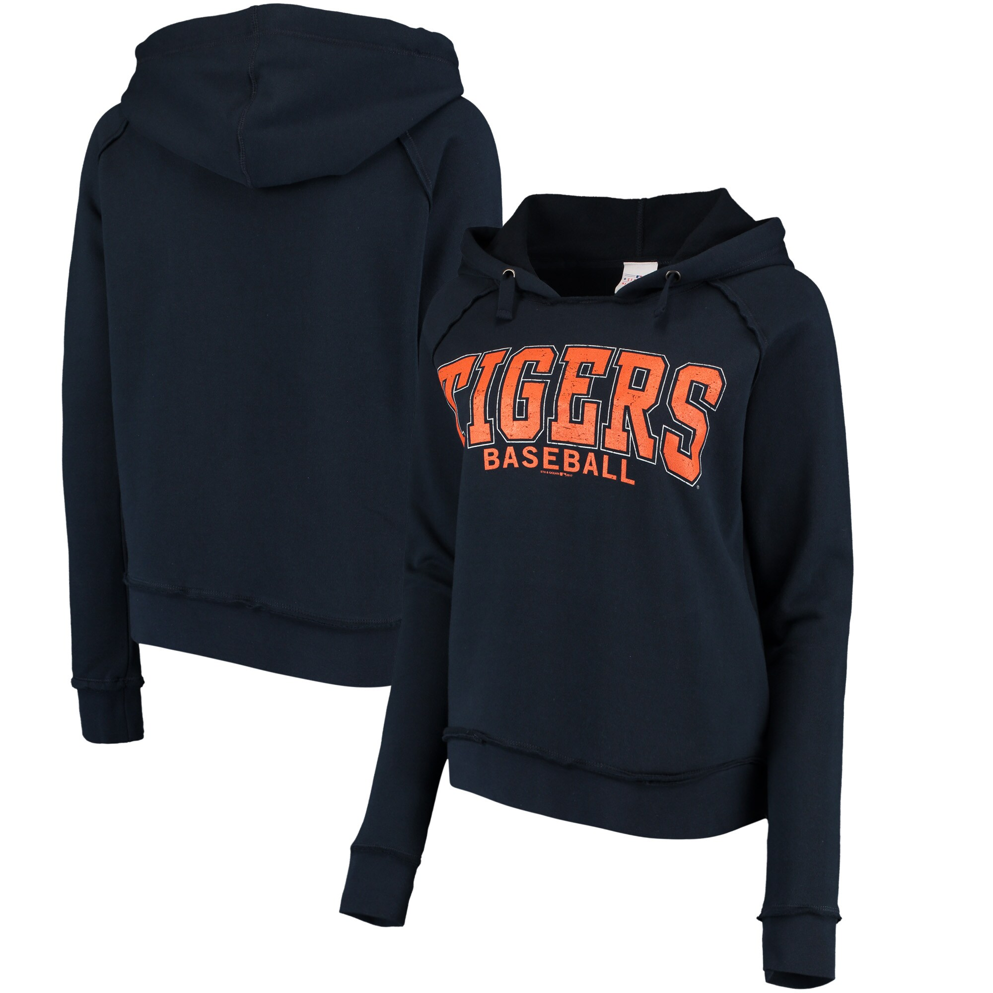 Detroit Tigers 5th & Ocean by New Era Women's Defense Raglan Pullover Hoodie - Navy