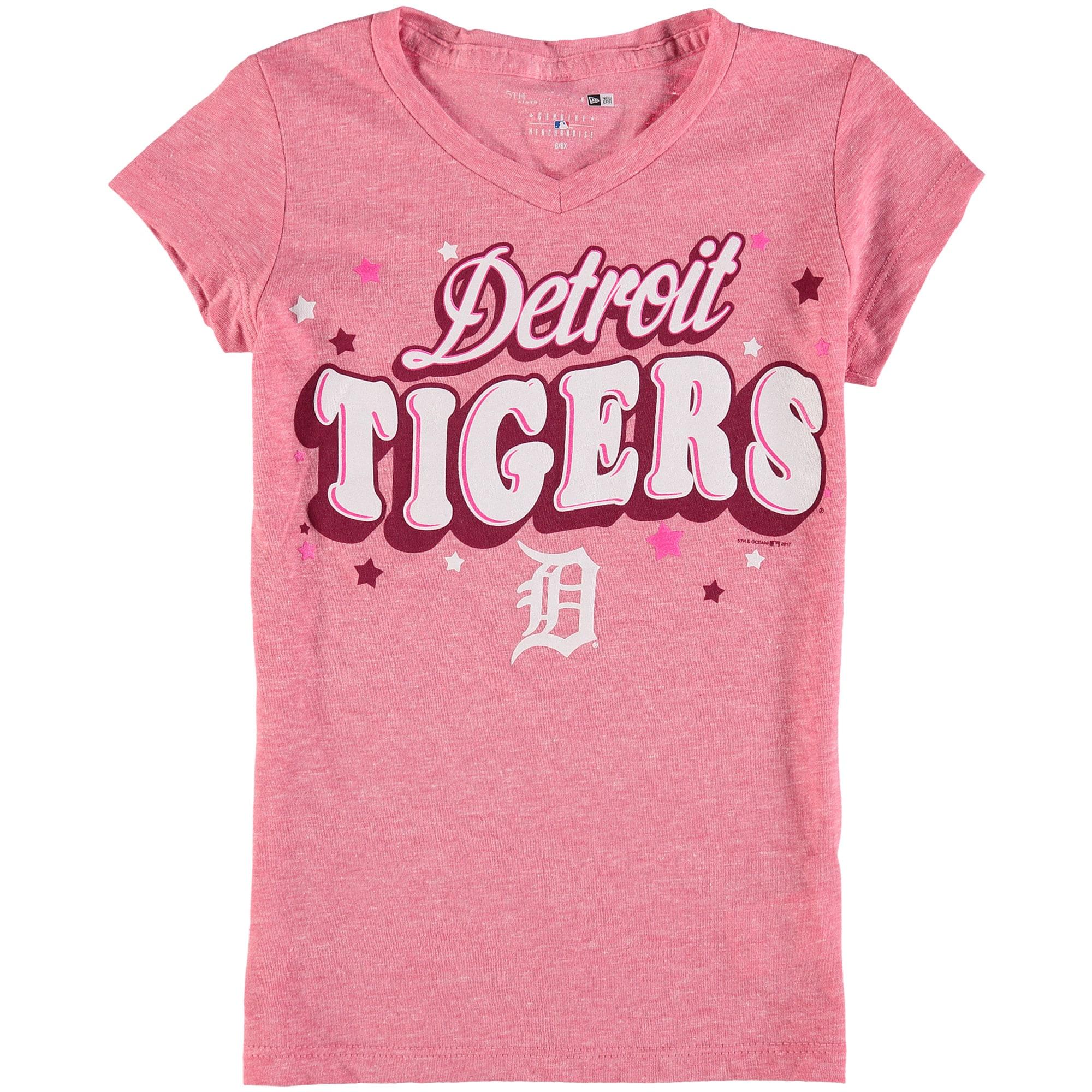 Detroit Tigers 5th & Ocean by New Era Girls Youth Stars Tri-Blend V-Neck T-Shirt - Pink