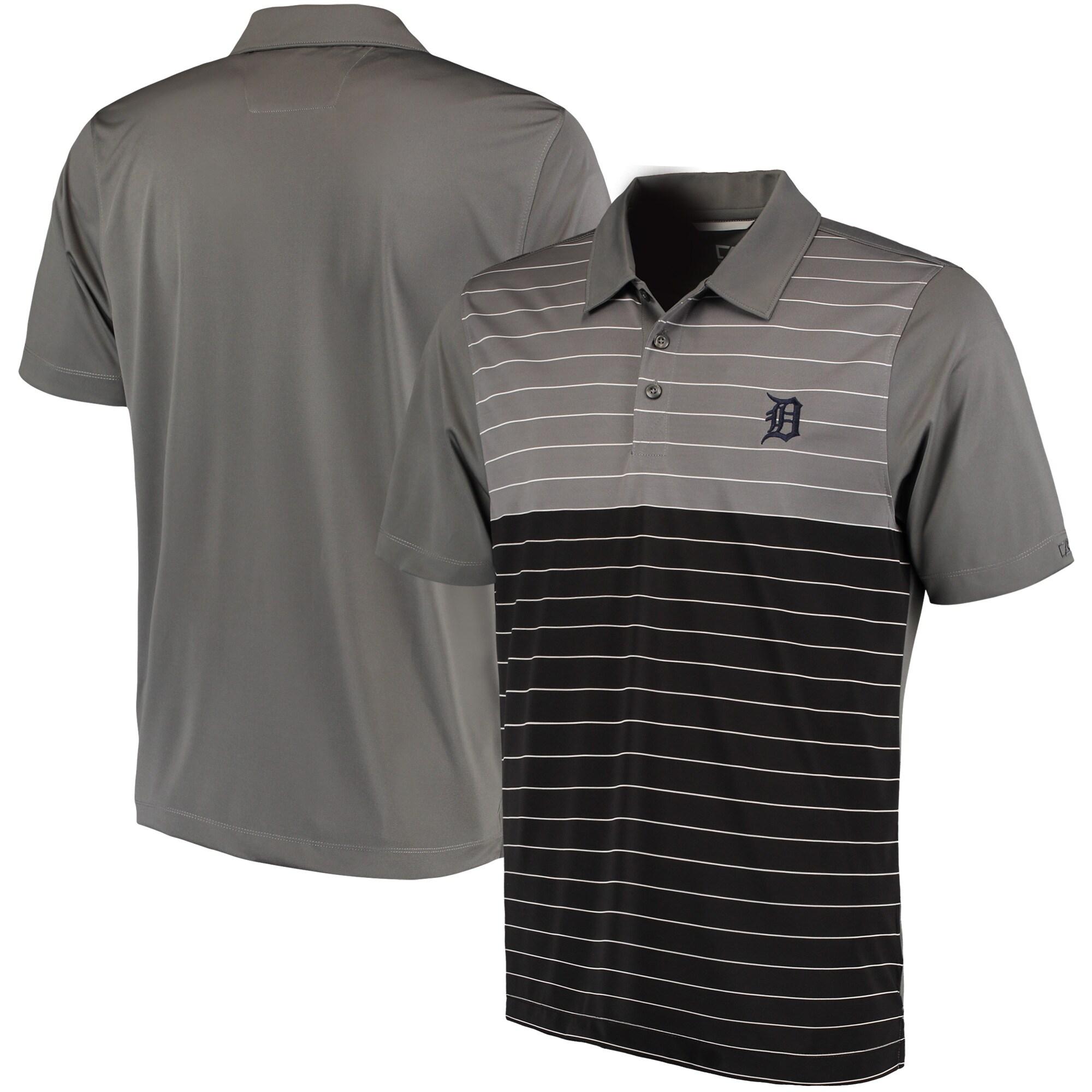 Detroit Tigers Cutter & Buck Endeavor Stripe DryTec Polo - Gray/Black