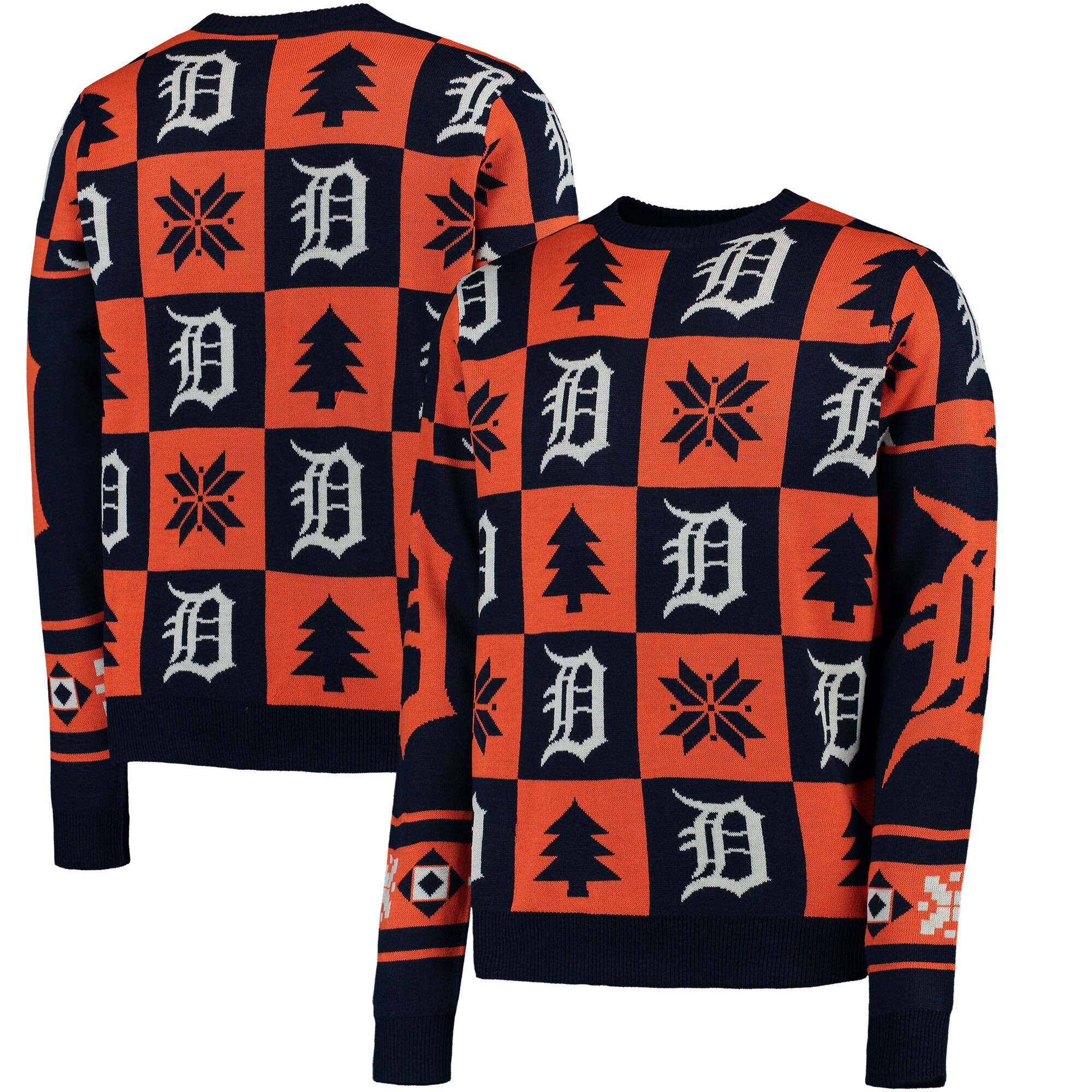 Detroit Tigers Patches Ugly Pullover Sweater - Navy