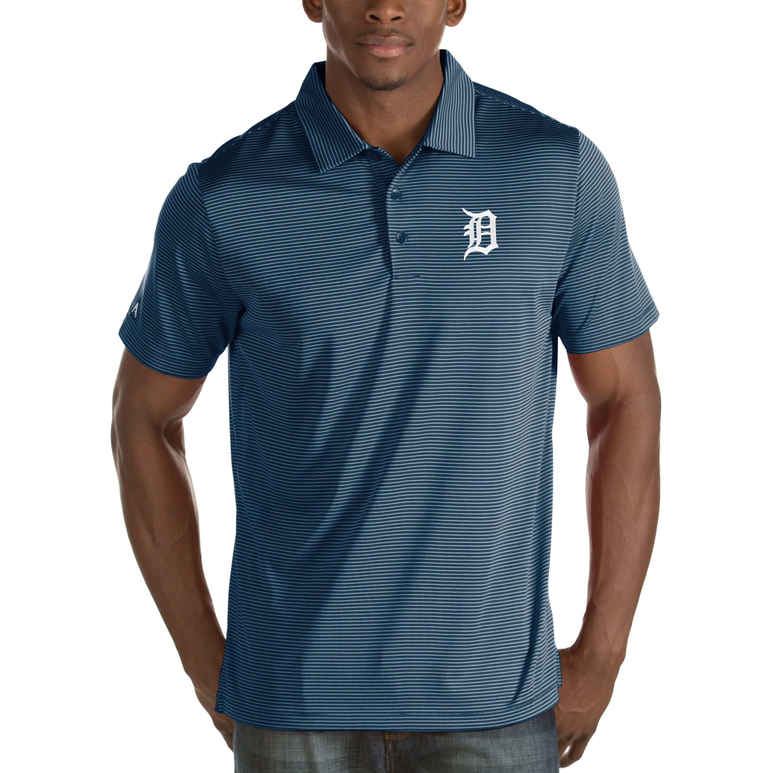 Detroit Tigers Antigua Quest Desert Dry Polo - Navy