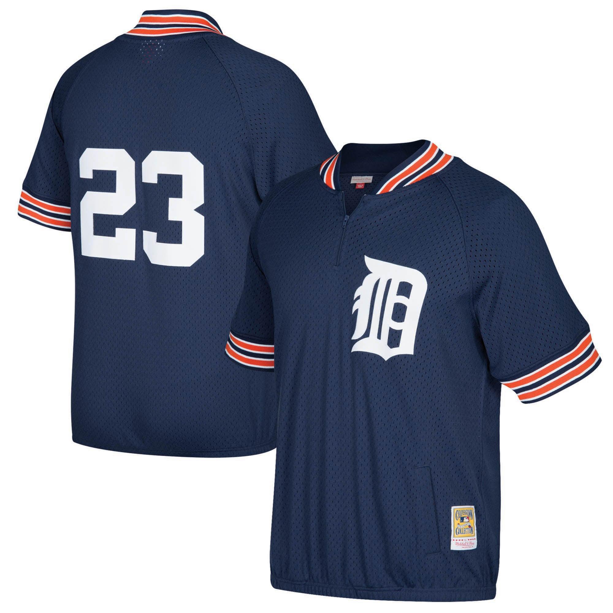 Kirk Gibson Detroit Tigers Mitchell & Ness Cooperstown Collection Mesh Batting Practice Quarter-Zip Jersey - Navy