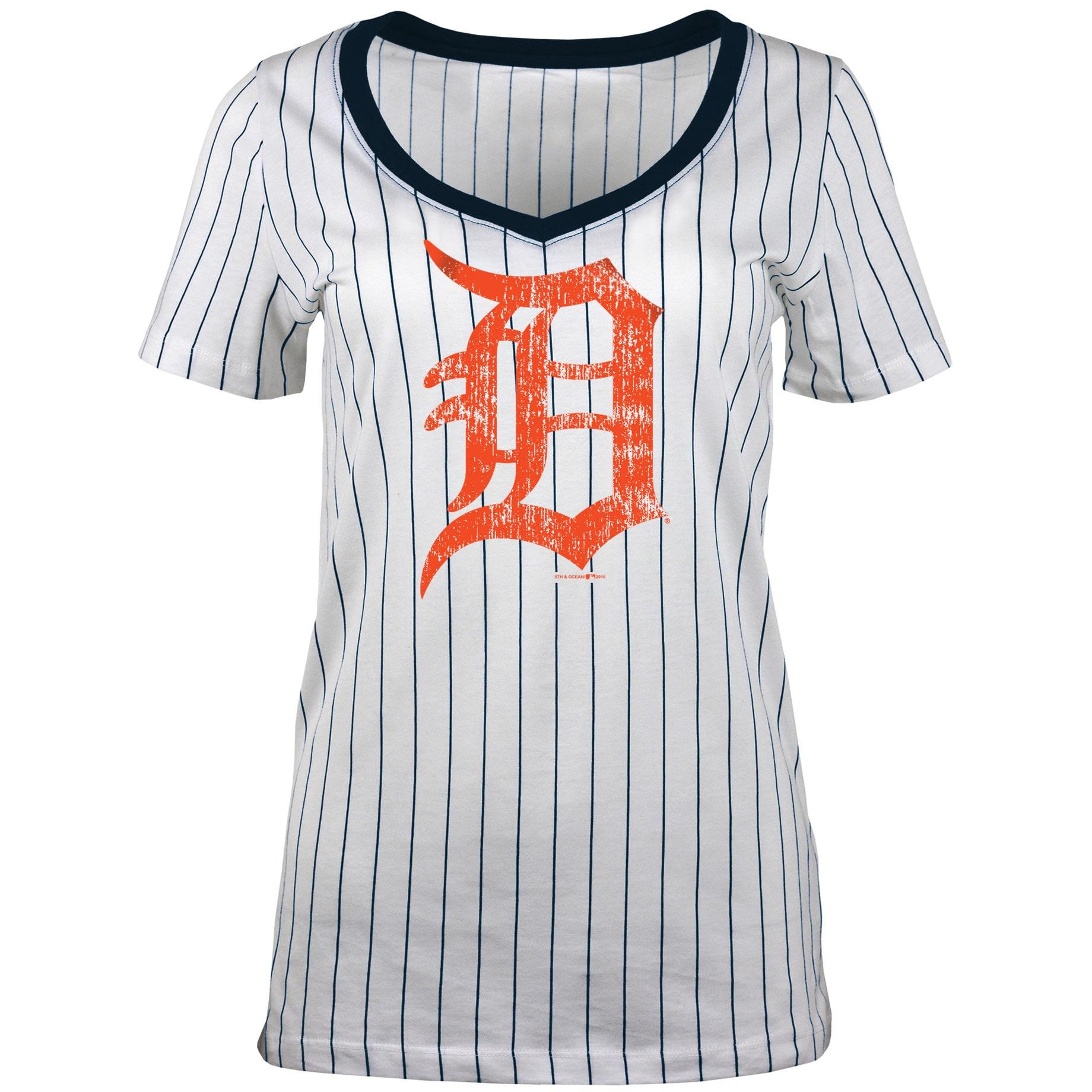 Detroit Tigers 5th & Ocean by New Era Women's Baby Jersey Pinstripe Ringer T-Shirt - White
