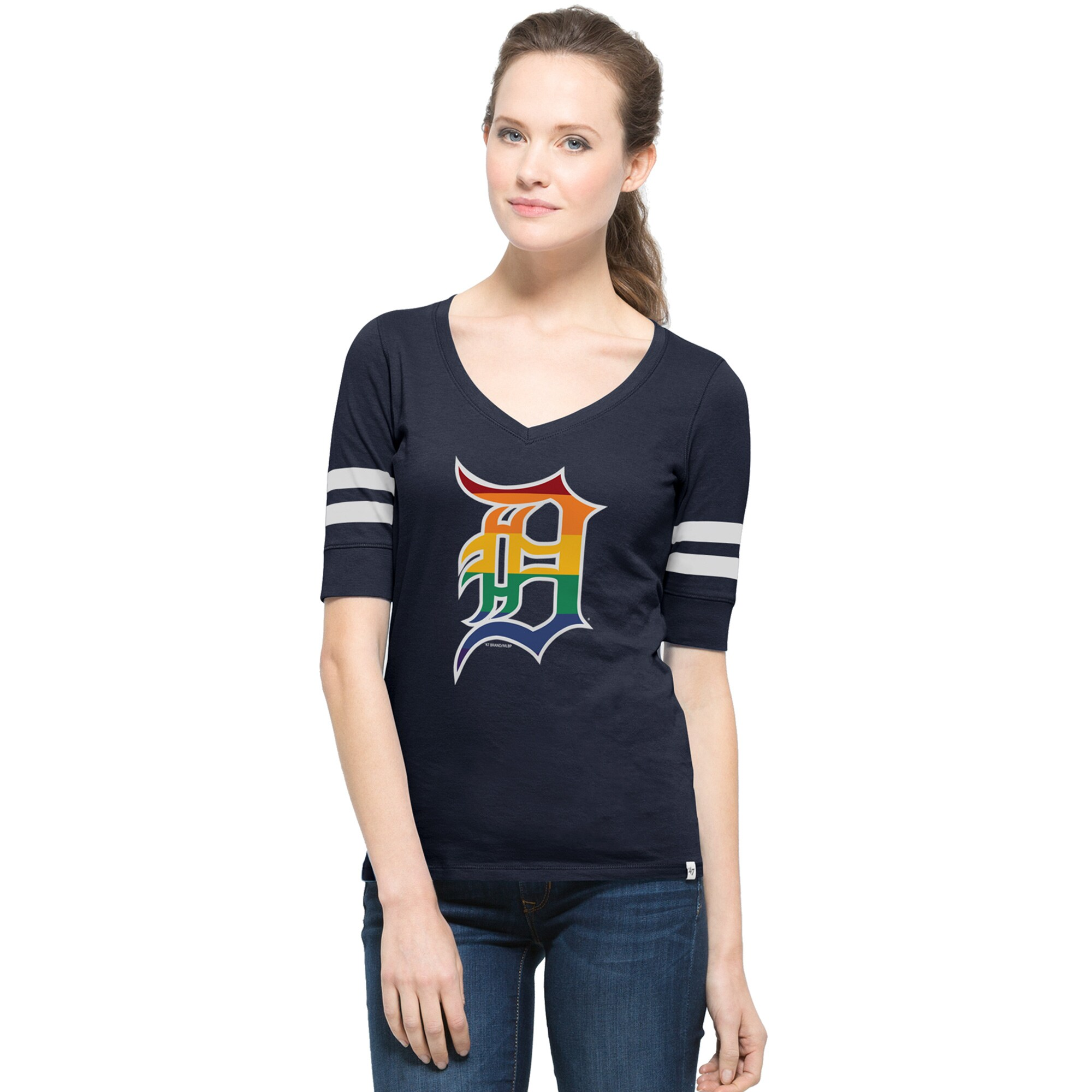 Detroit Tigers '47 Women's Pride Flanker V-Neck T-Shirt - Navy