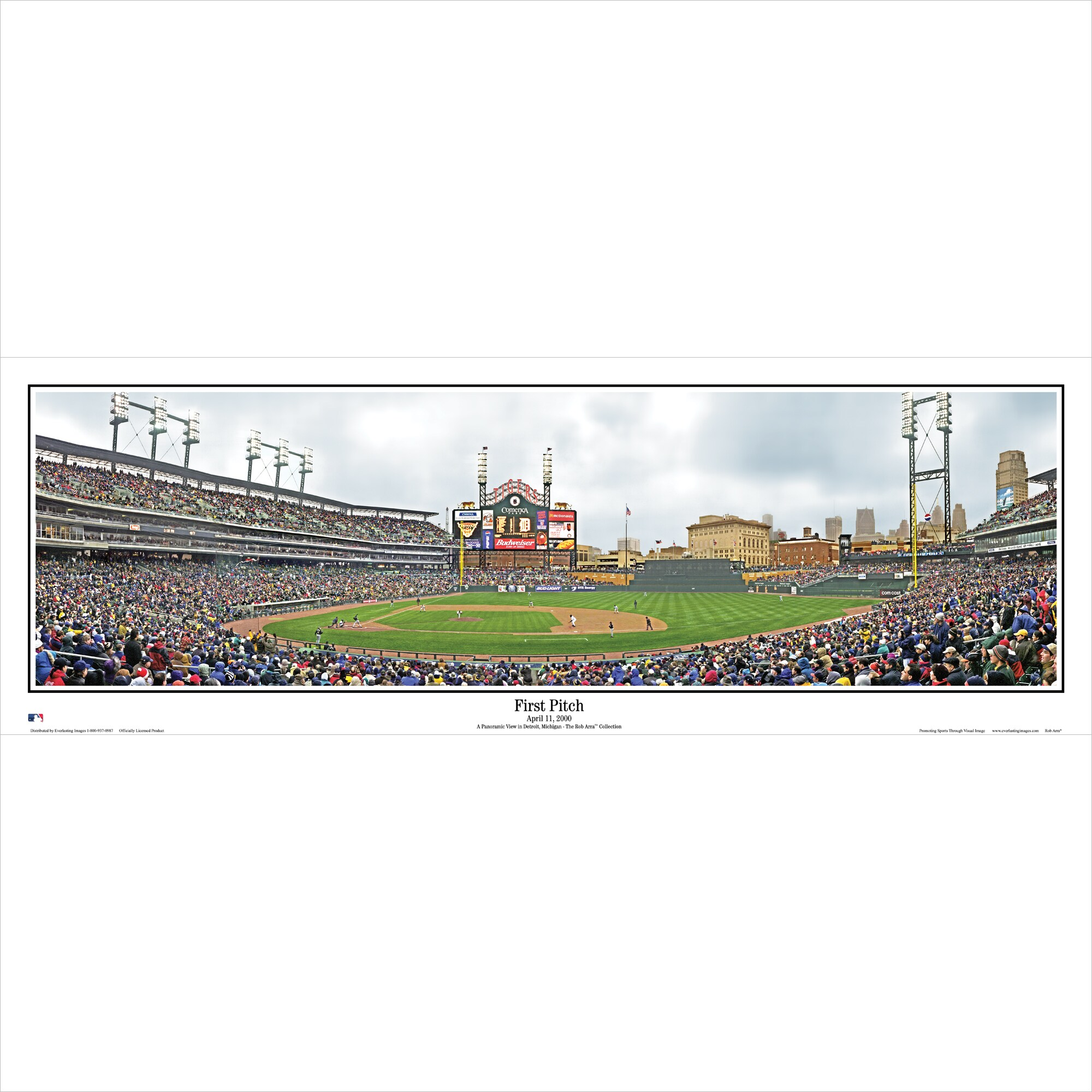 """Detroit Tigers 39"""" x 13.5"""" First Pitch Standard Black Framed Panoramic"""