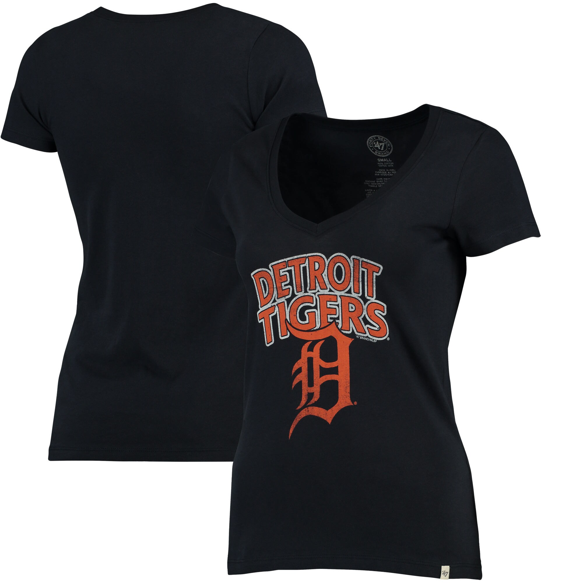 Detroit Tigers '47 Women's Flanker Logo V-Neck T-Shirt - Navy