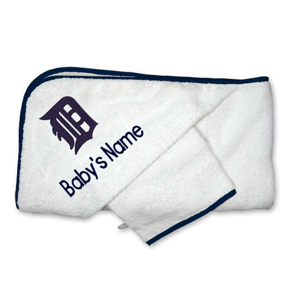 Detroit Tigers Infant Personalized Hooded Towel & Mitt Set - White