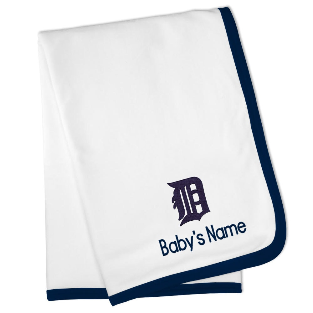 Detroit Tigers Personalized Baby Blanket - White
