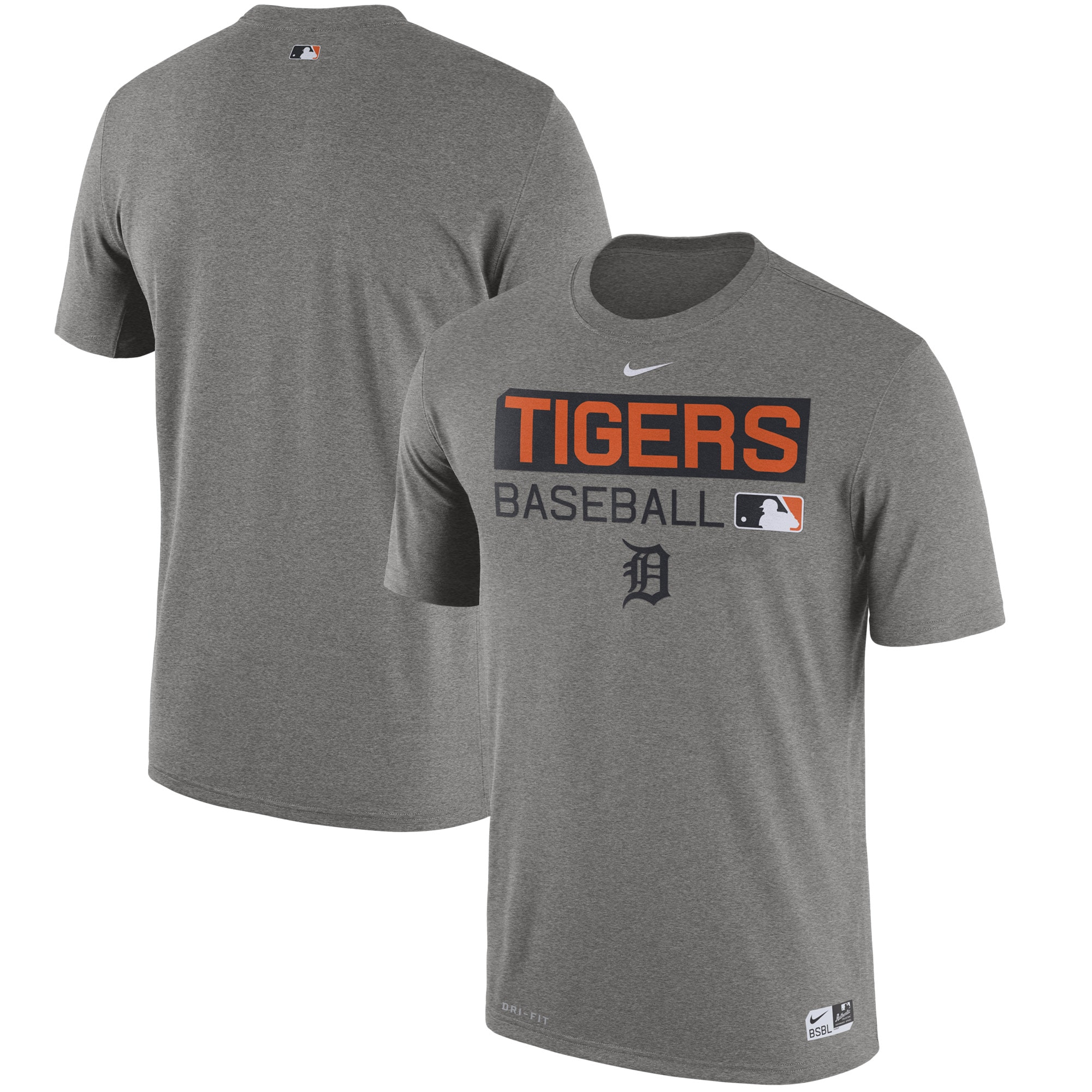 Detroit Tigers Nike Authentic Collection Legend Team Issue Performance T-Shirt - Heathered Gray