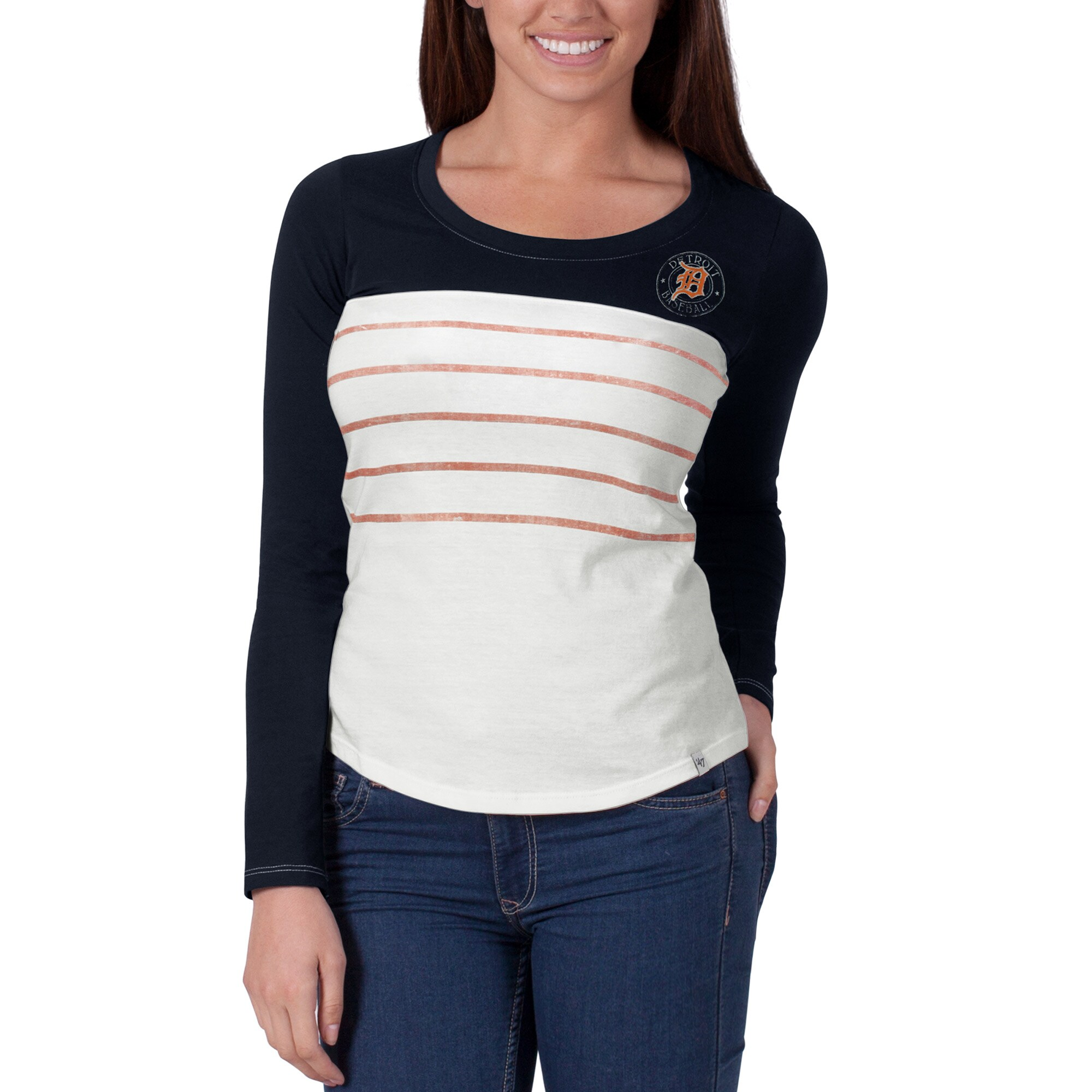 Detroit Tigers '47 Women's Breakers T-Shirt - Navy