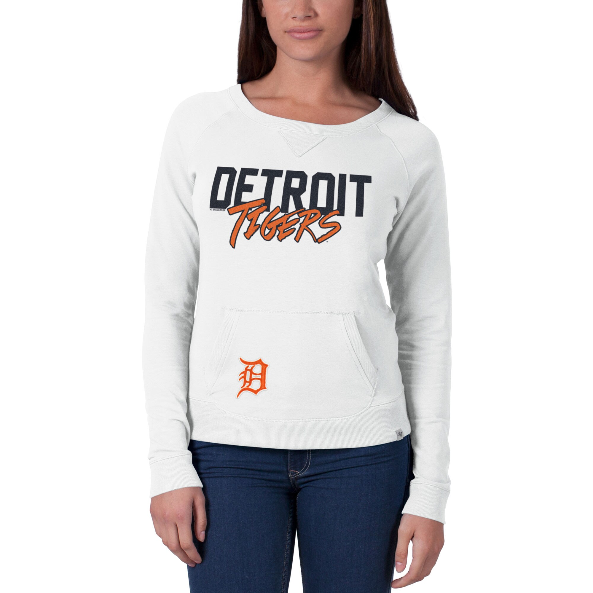 Detroit Tigers '47 Women's Gameday Crew Neck Sweater - White