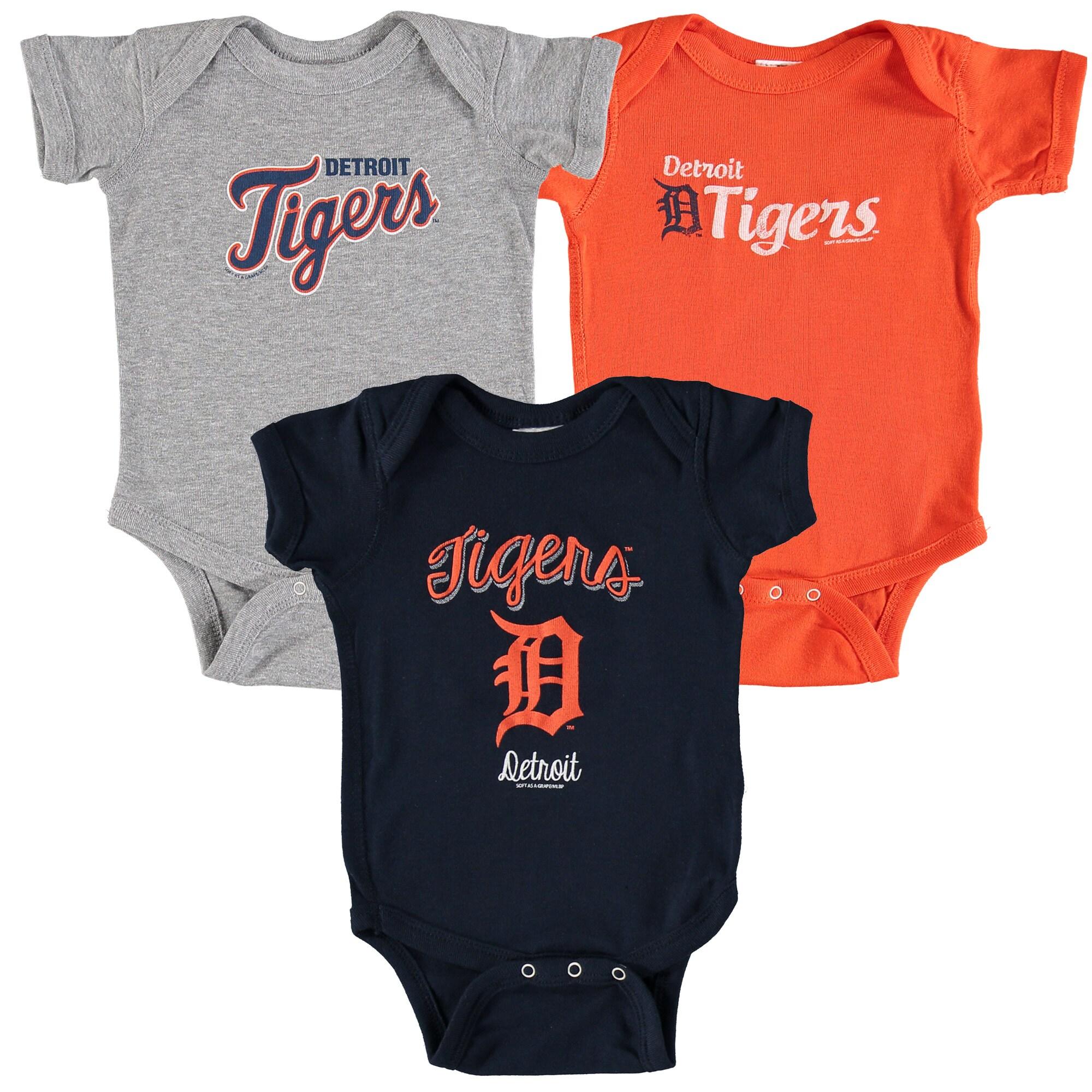Detroit Tigers Soft as a Grape Infant 3-Pack Rookie Bodysuit Set - Navy