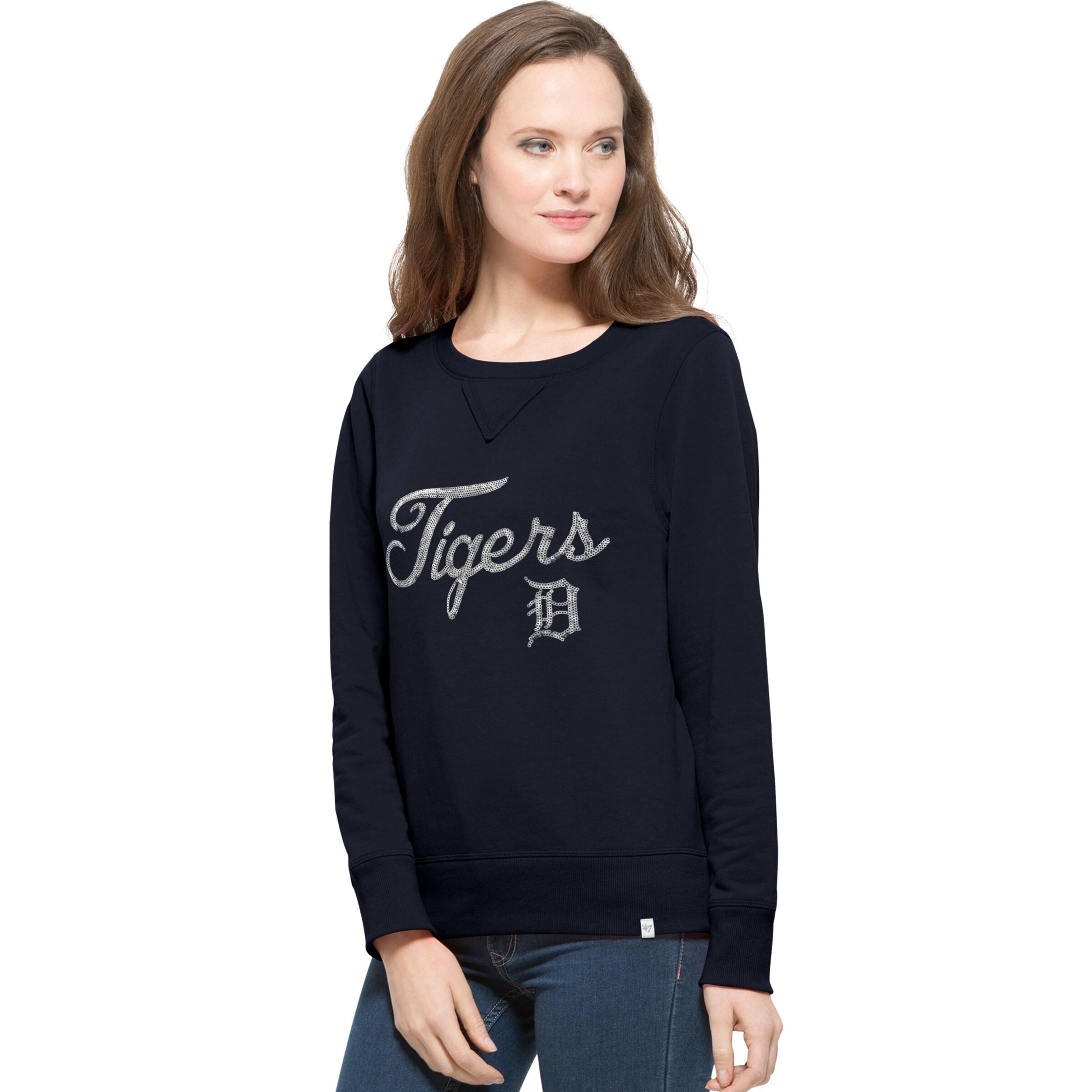 Detroit Tigers '47 Women's Sparkle Cross-Check Crew Neck Sweatshirt - Navy