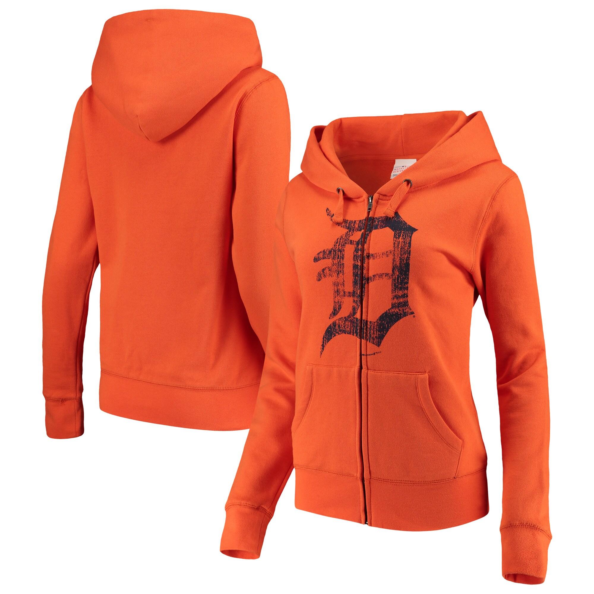 Detroit Tigers 5th & Ocean by New Era Women's Core Fleece Hoodie - Orange