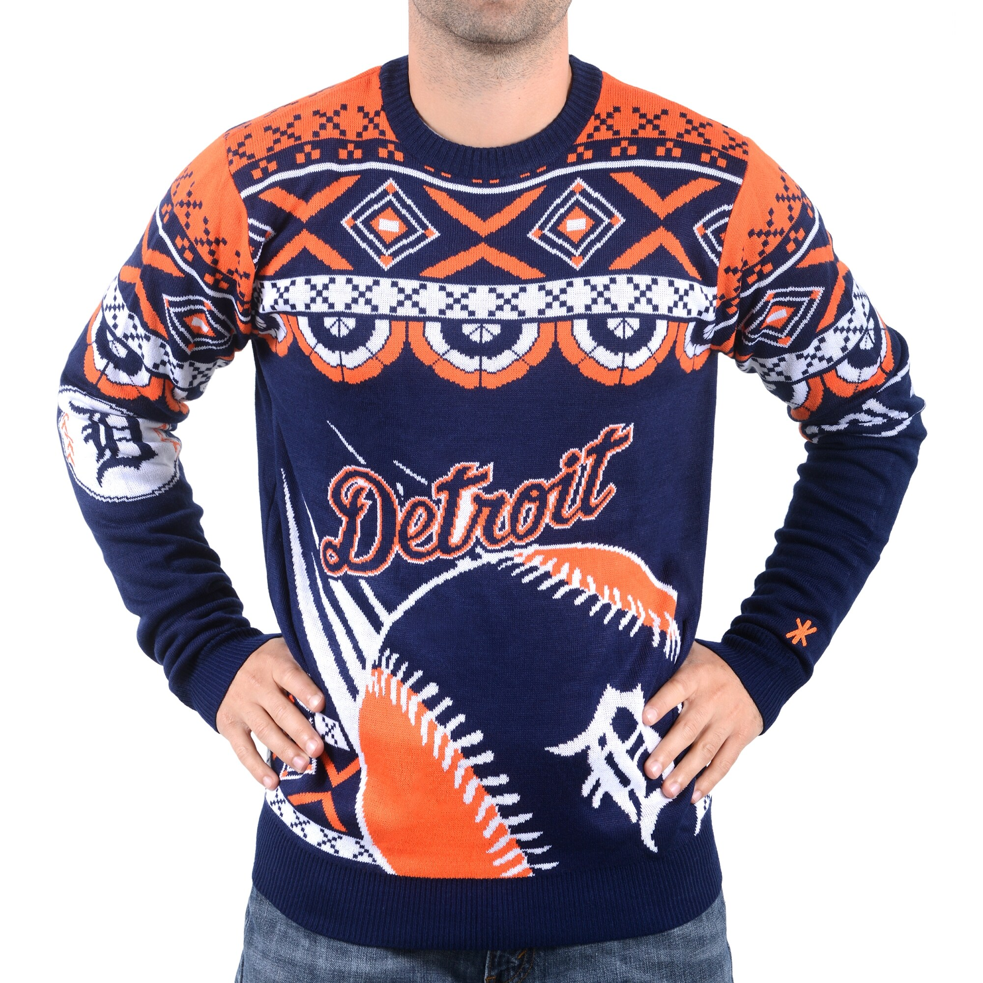Detroit Tigers Klew Thematic Ugly Sweater - Navy Blue