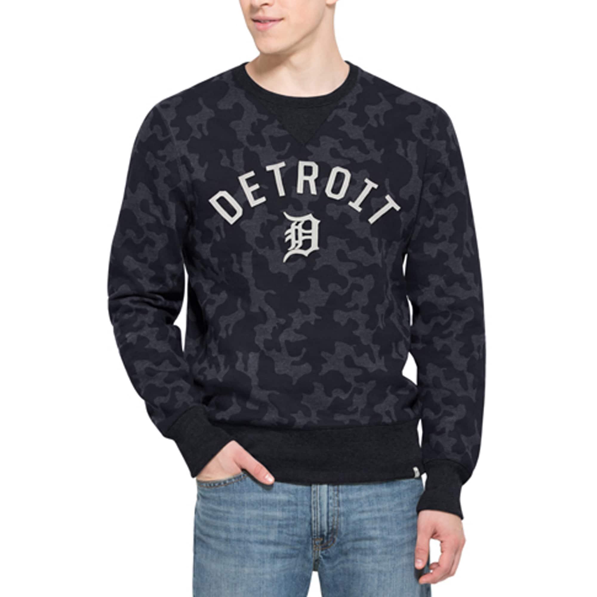 Detroit Tigers '47 Stealth Camo Crew Sweatshirt - Navy