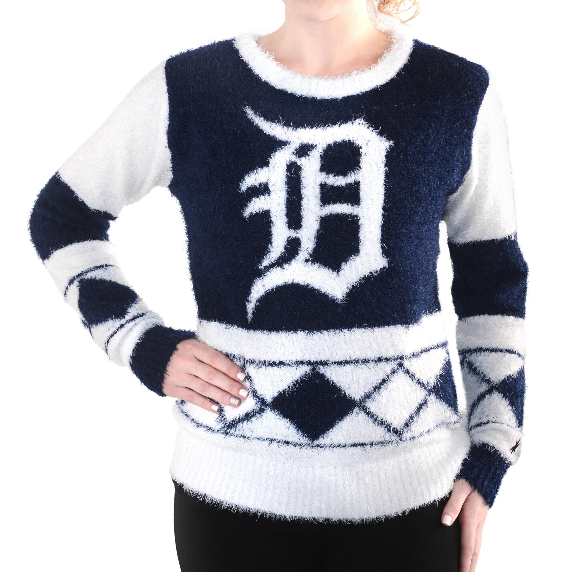 Detroit Tigers Klew Women's Inline Eyelash Sweater - Navy Blue