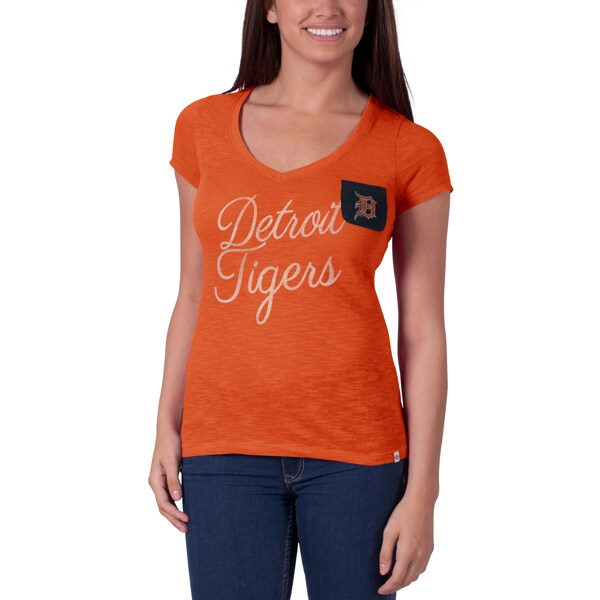 Detroit Tigers '47 Women's Harbour V-Neck Pocket T-Shirt - Orange