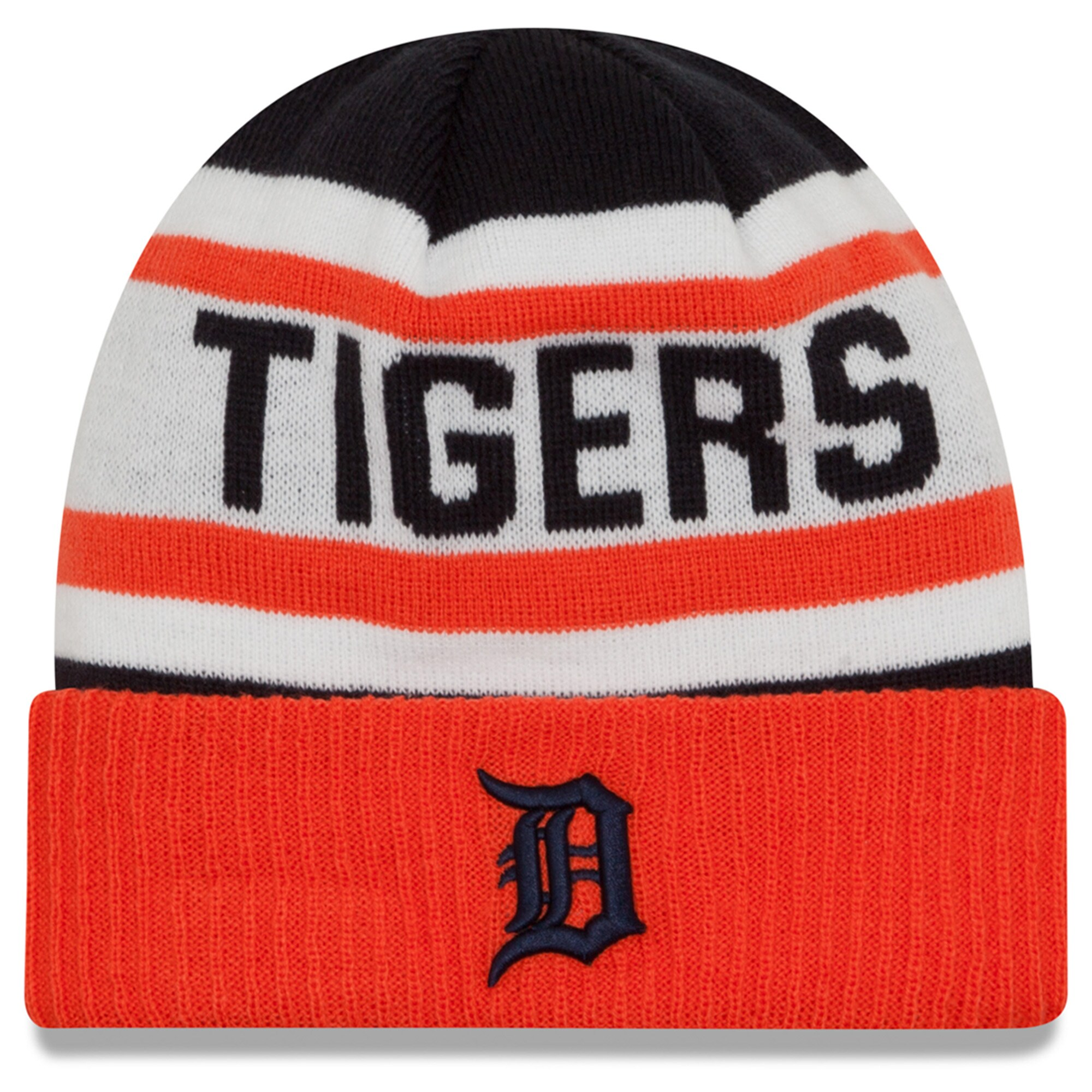 Detroit Tigers New Era Biggest Fan 2.0 Cuffed Knit Hat - White/Orange