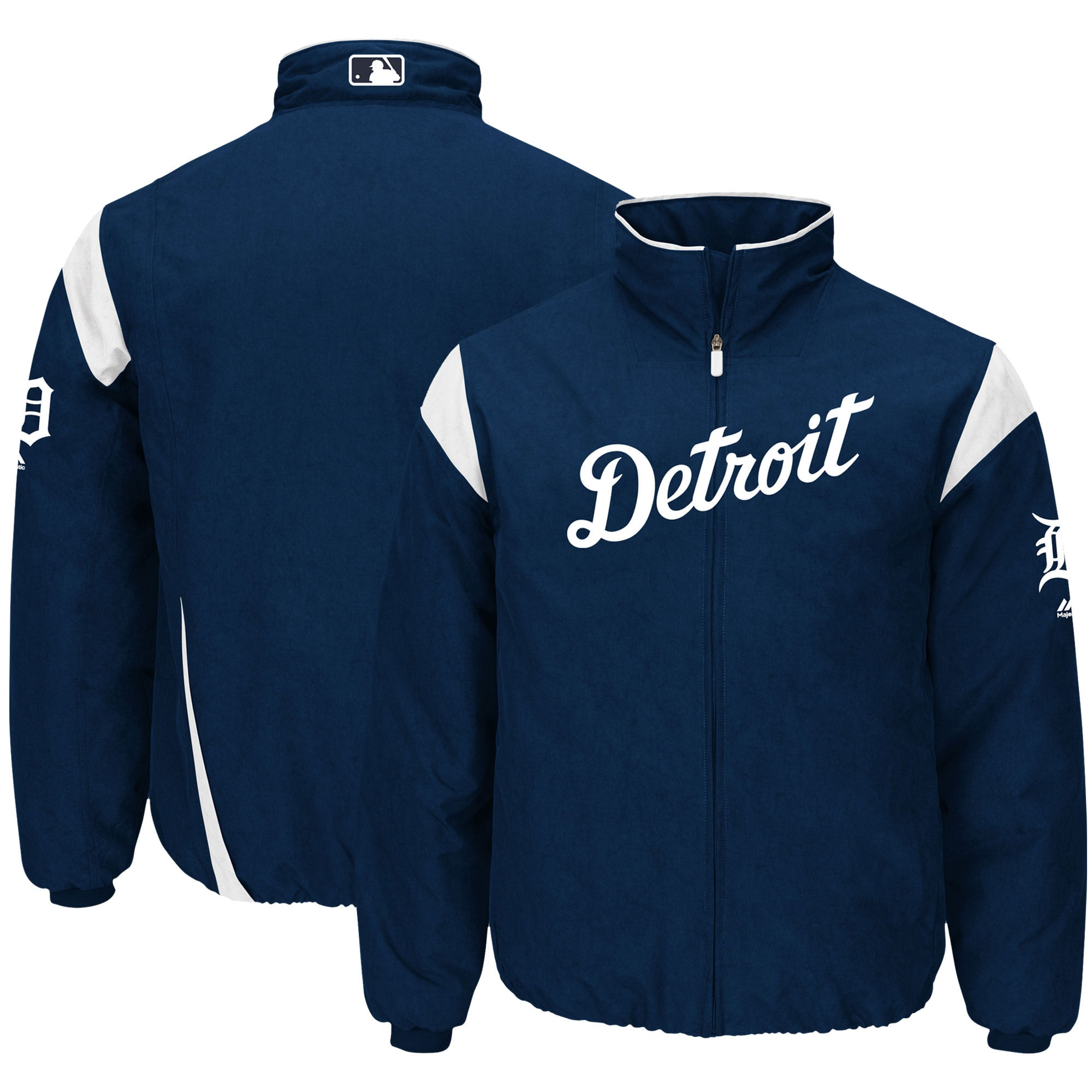Detroit Tigers Majestic On-Field Therma Base Thermal Full-Zip Jacket - Navy