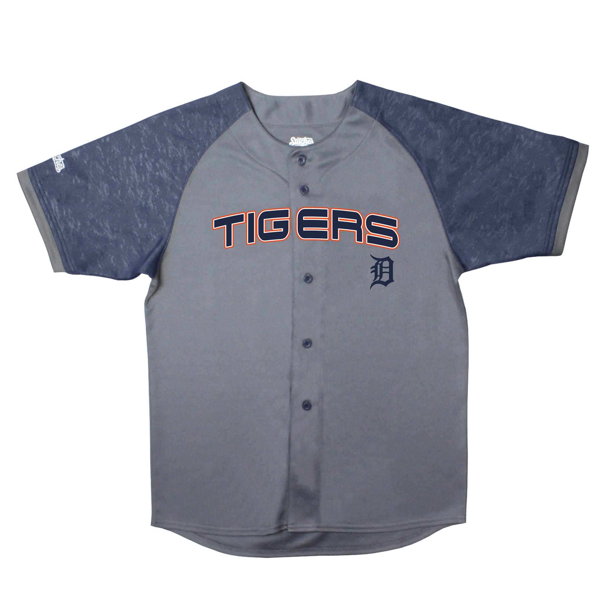 Detroit Tigers Stitches Youth Glitch Jersey - Charcoal/Navy