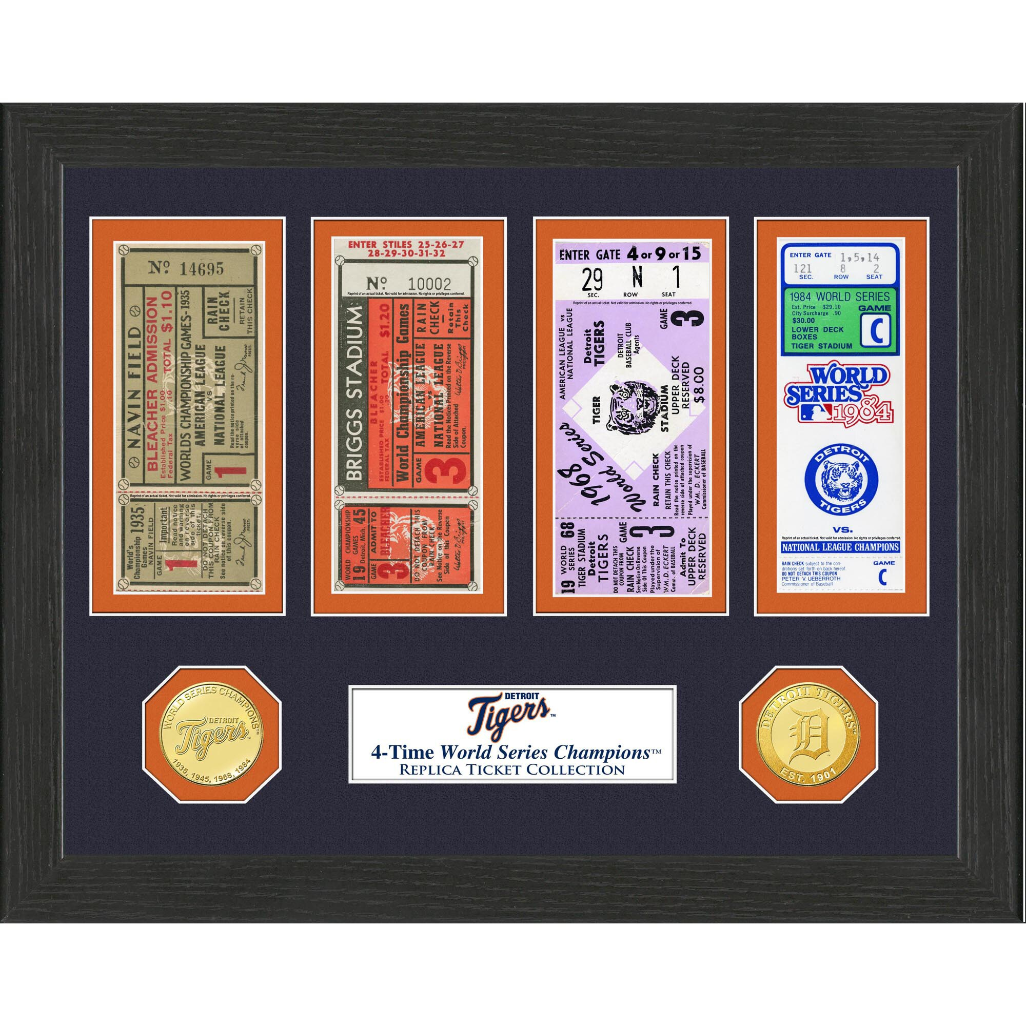 """Detroit Tigers Highland Mint 13"""" x 13"""" World Series Ticket Collection"""