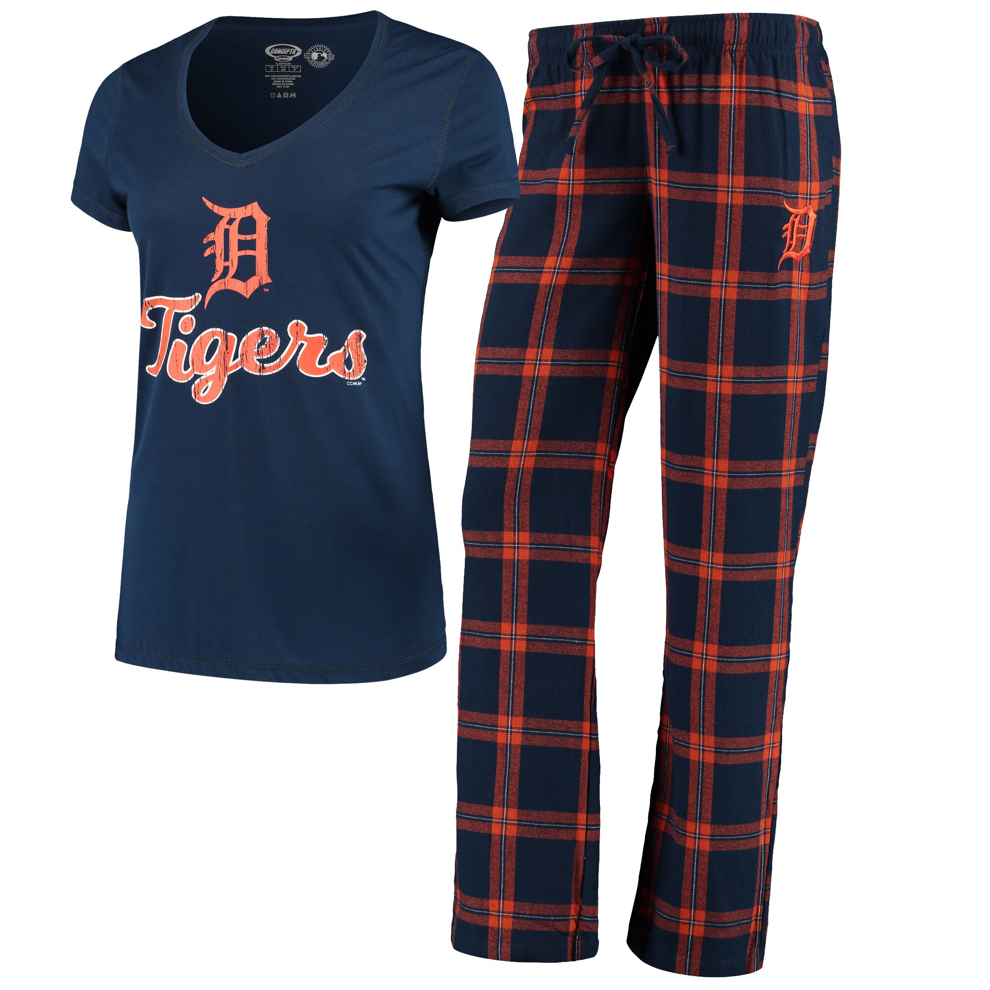 Detroit Tigers Concepts Sport Women's Troupe V-Neck T-Shirt & Pants Sleep Set - Navy/Orange
