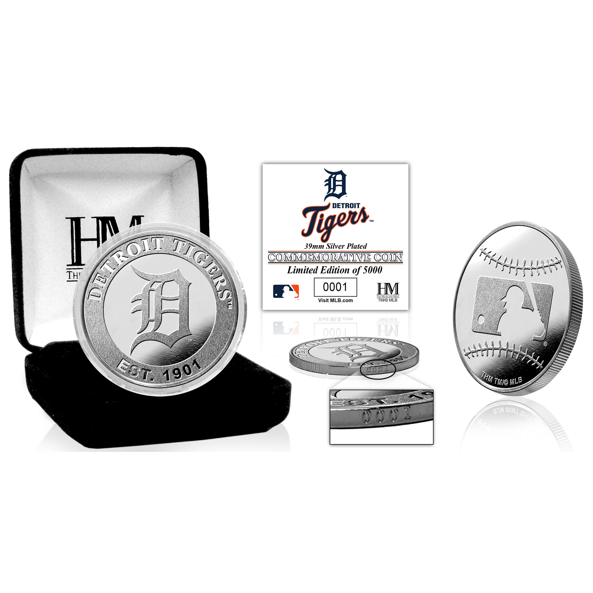 Detroit Tigers Highland Mint Silver Mint Coin