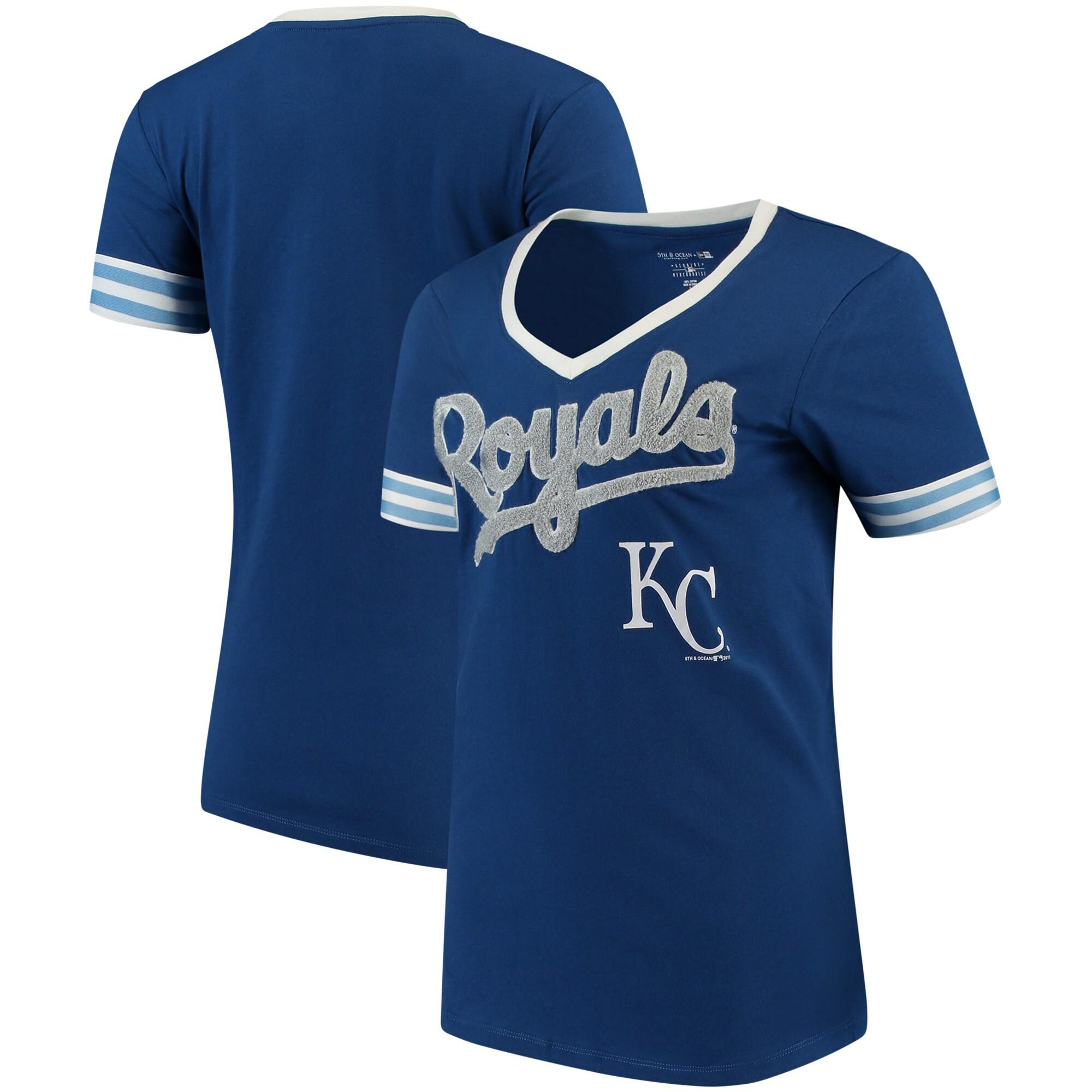 Kansas City Royals 5th & Ocean by New Era Women's Baby Jersey V-Neck T-Shirt - Royal