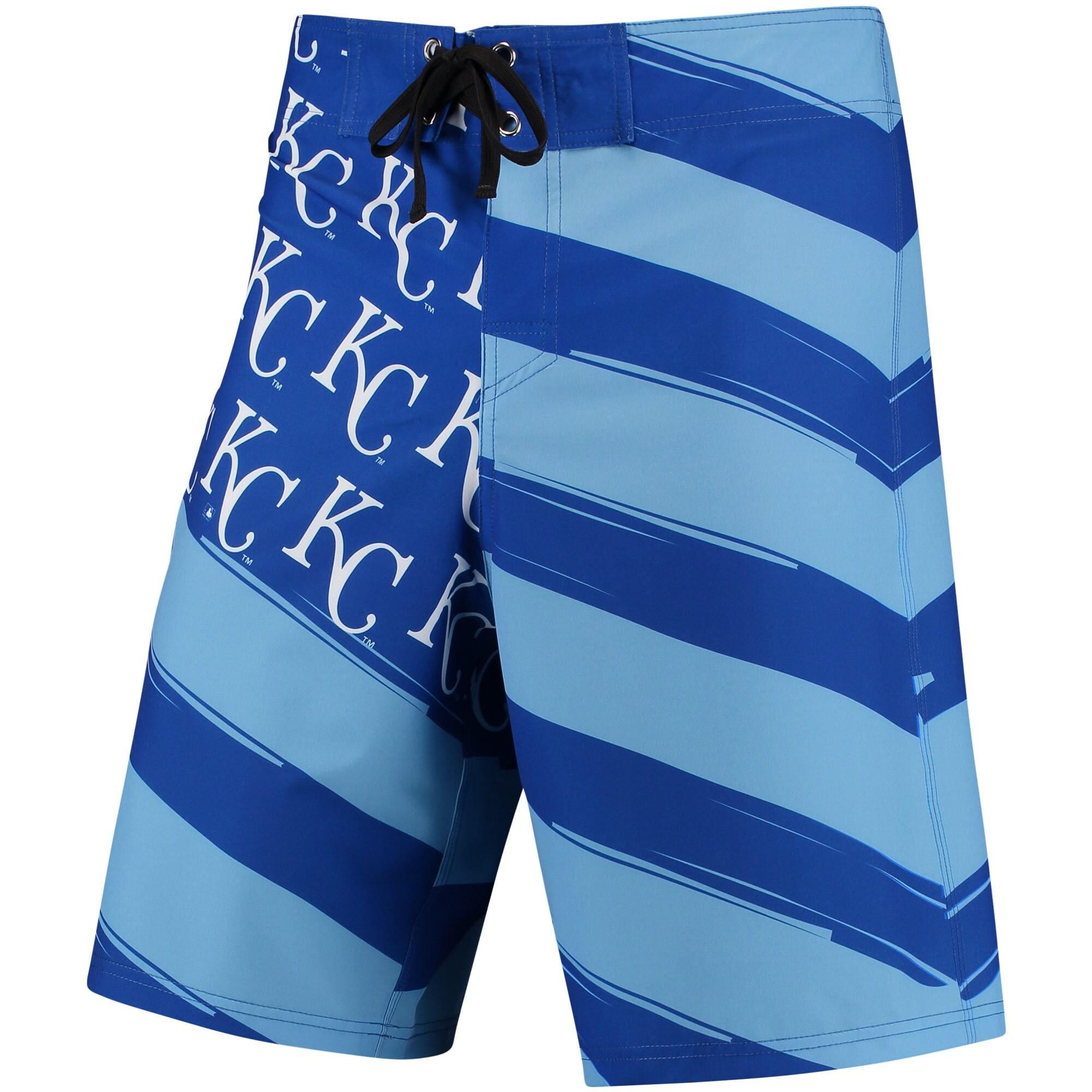 Kansas City Royals Diagonal Flag Boardshorts - Royal/Light Blue