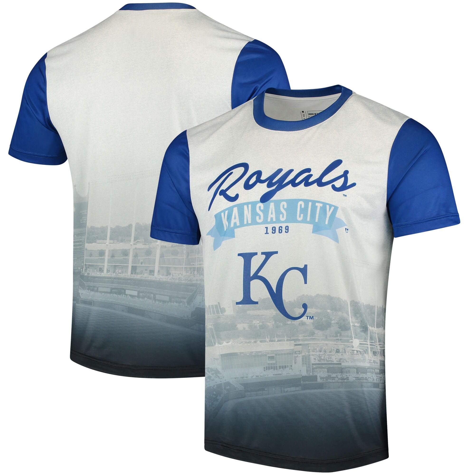 Kansas City Royals Outfield Photo T-Shirt - White/Royal