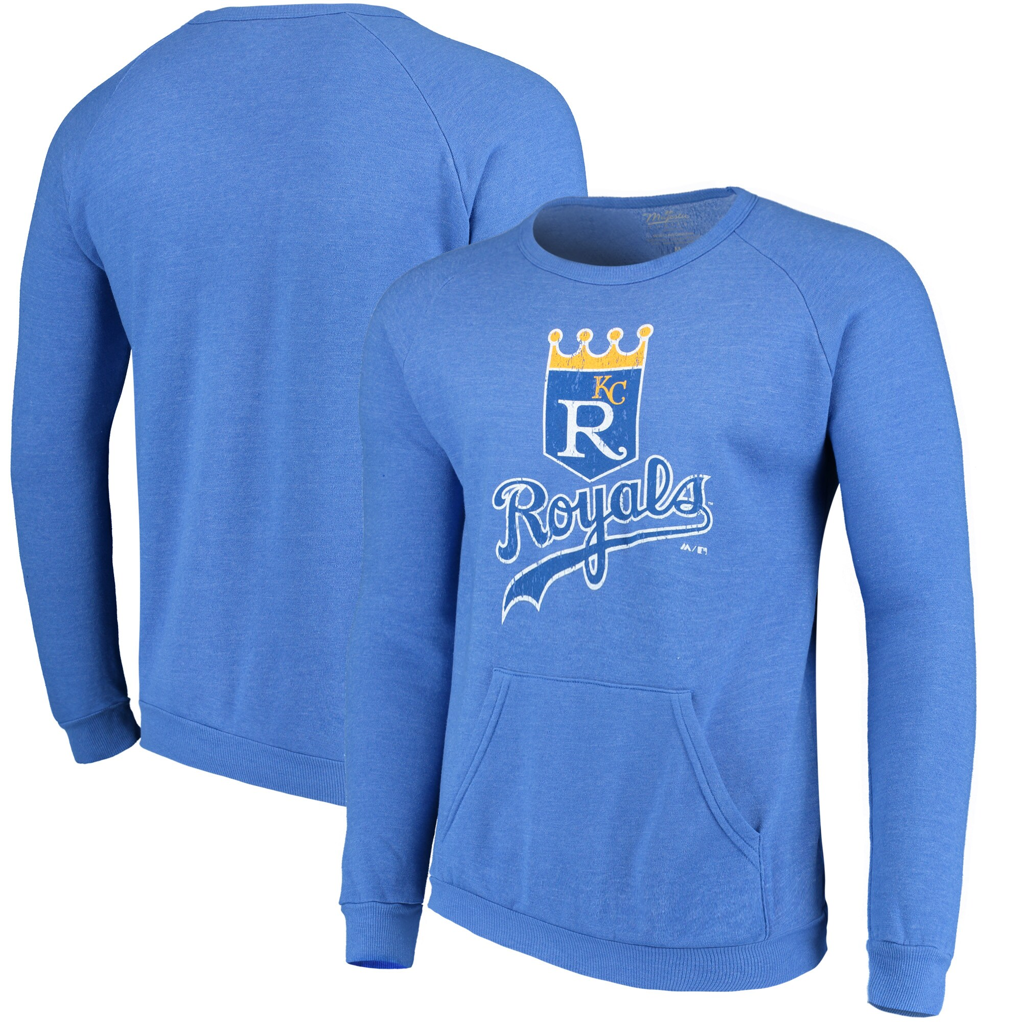 Kansas City Royals Majestic Threads Cooperstown Collection Tri-Blend Pocket Fleece Sweatshirt - Royal
