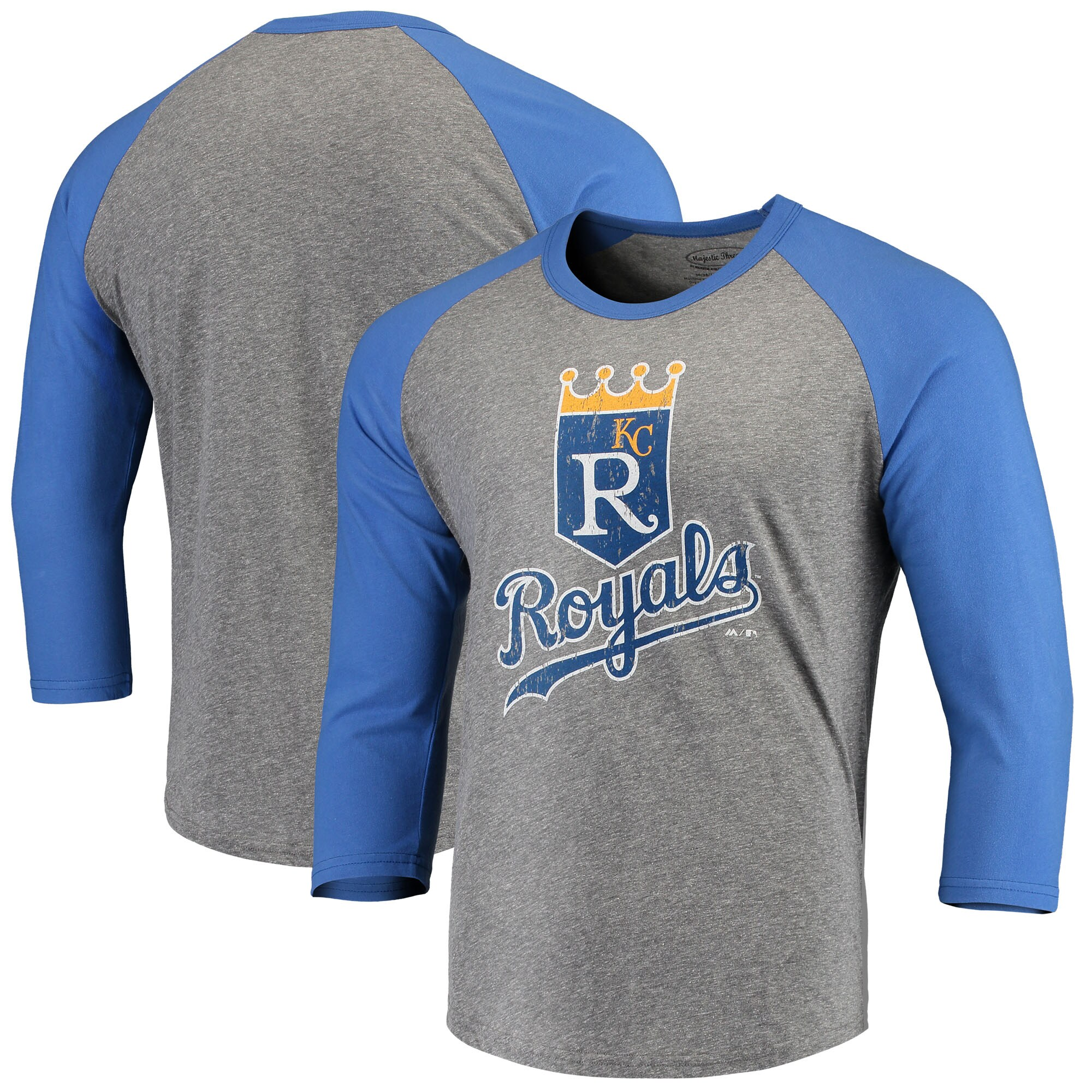 Kansas City Royals Majestic Threads Cooperstown Collection 3/4-Sleeve Raglan Tri-Blend T-Shirt - Heathered Gray/Royal