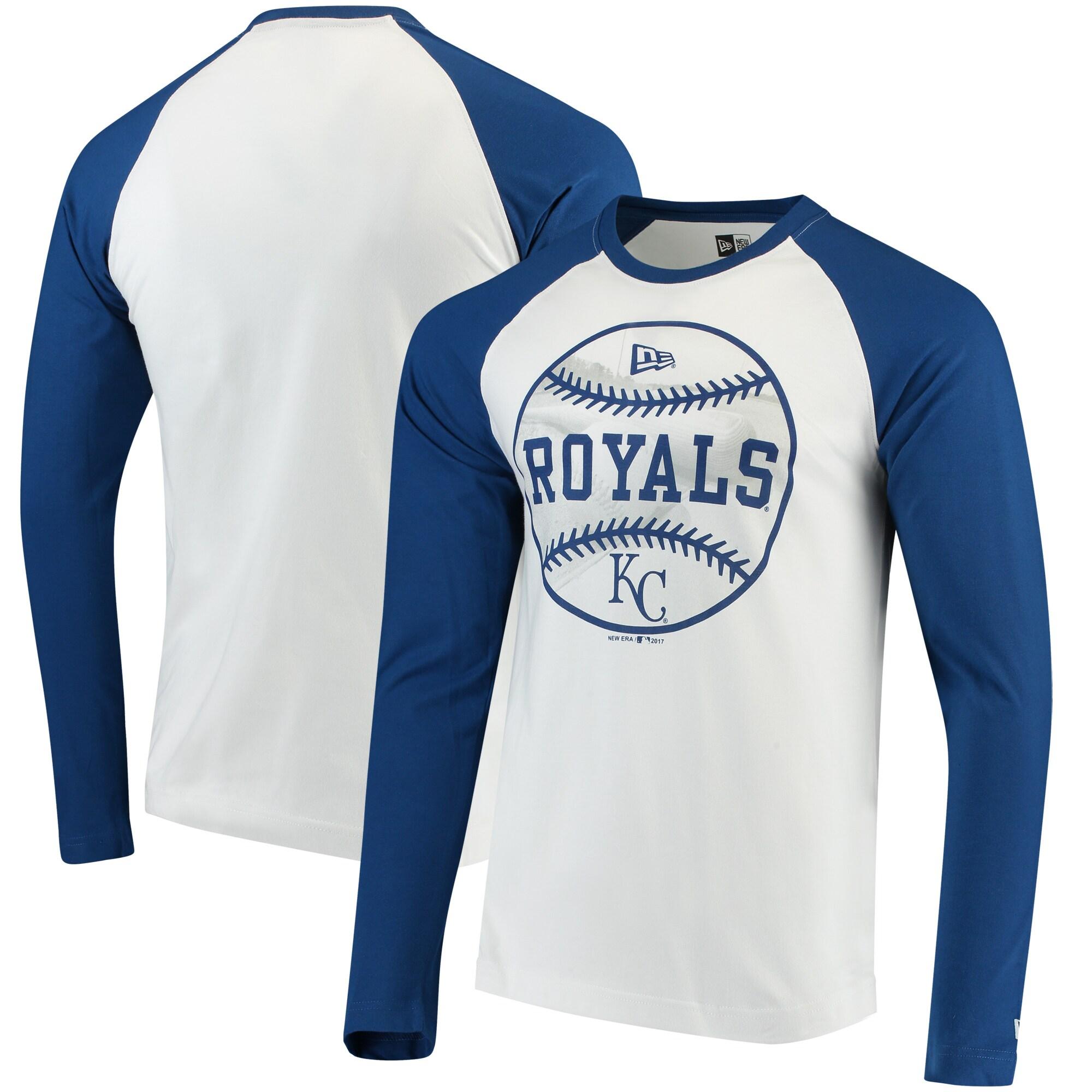 Kansas City Royals New Era Raglan Long Sleeve T-Shirt - White/Royal