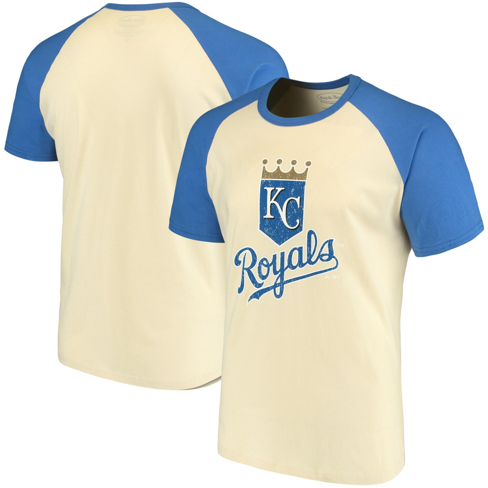 Kansas City Royals Majestic Threads Softhand Raglan T-Shirt - Cream/Royal