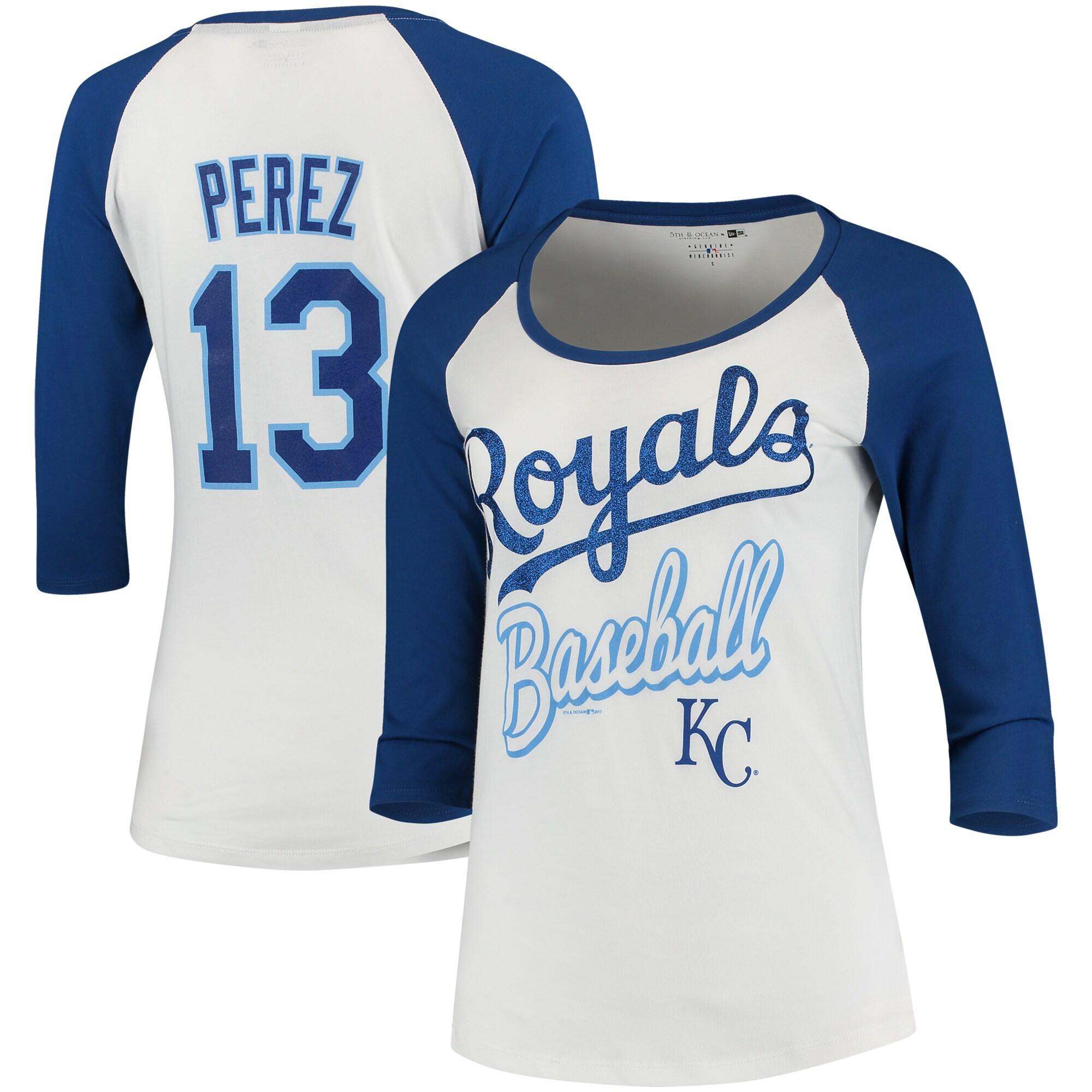 Salvador Perez Kansas City Royals 5th & Ocean by New Era Women's Glitter 3/4-Sleeve Raglan T-Shirt - White/Royal