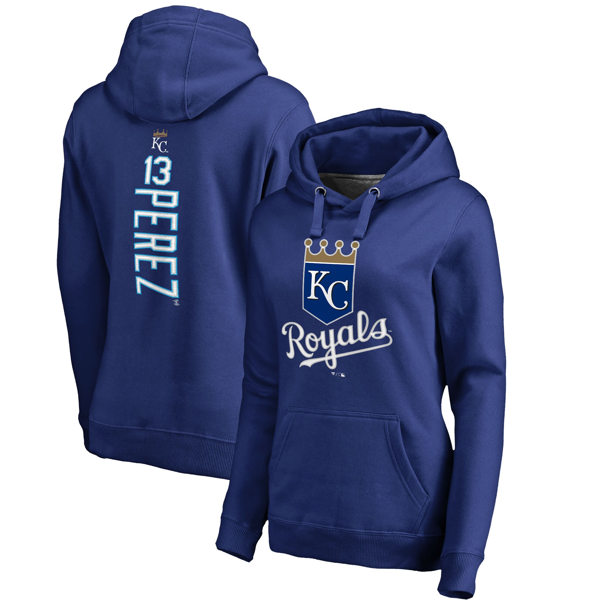 Salvador Perez Kansas City Royals Fanatics Branded Women's Backer Pullover Hoodie - Royal