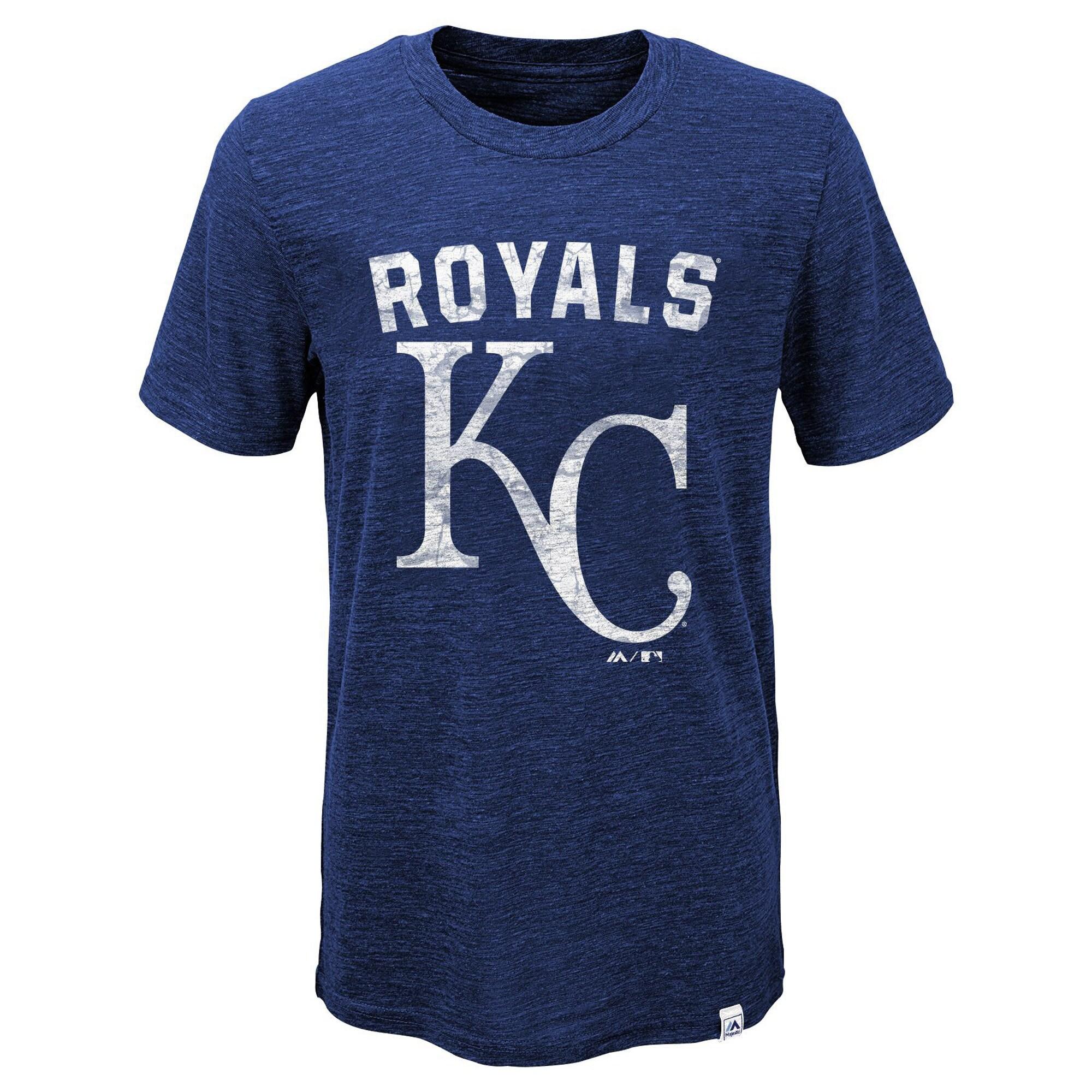 Kansas City Royals Majestic Youth Hours And Hours Slub Tri-Blend T-Shirt - Heather Royal