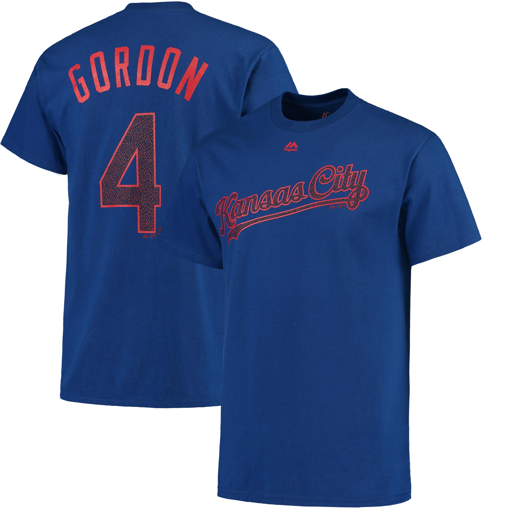 Alex Gordon Kansas City Royals Majestic Stars & Stripes Name and Number T-Shirt - Royal